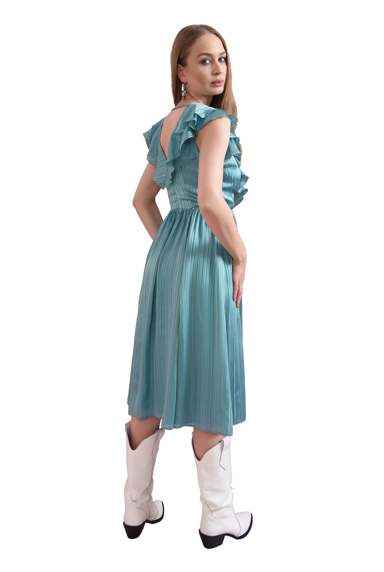 rochie turcoaz, cu volanela bust