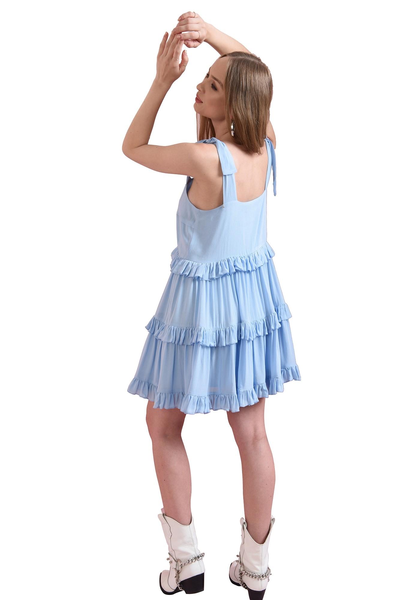 rochie casual, evazata, bleu
