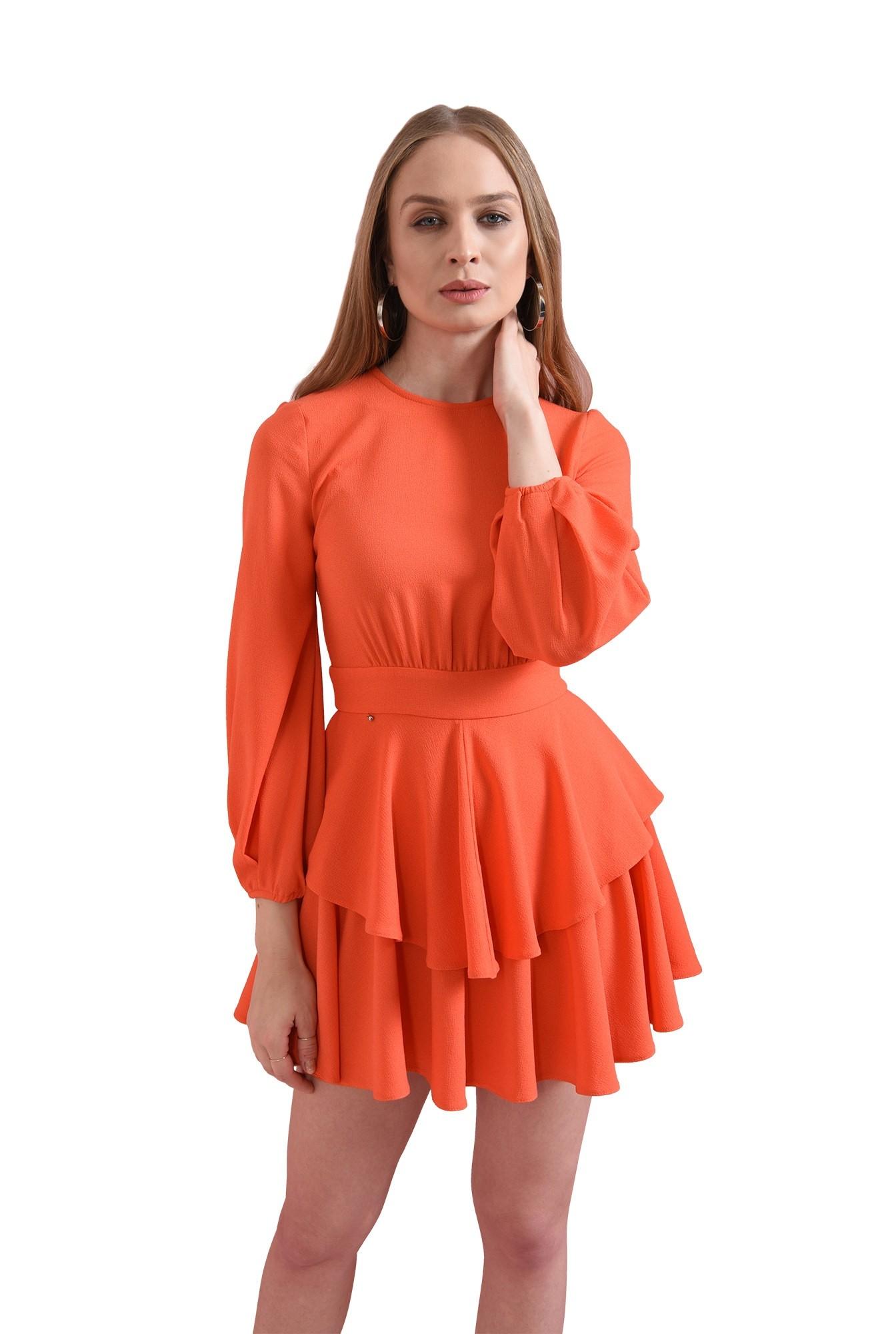 rochie scurta, orange, cu volane