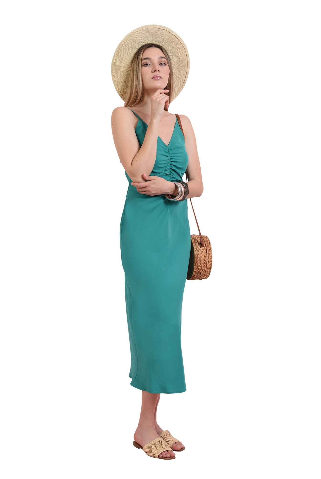 rochie verde, midi, cu bretele