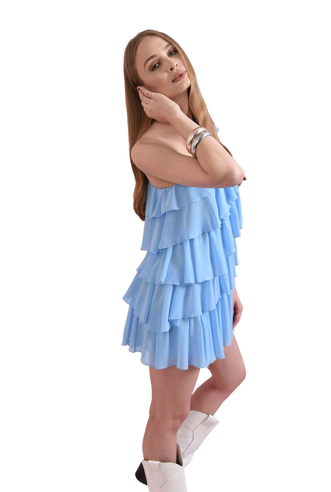 rochie cu volane multiple, bleu