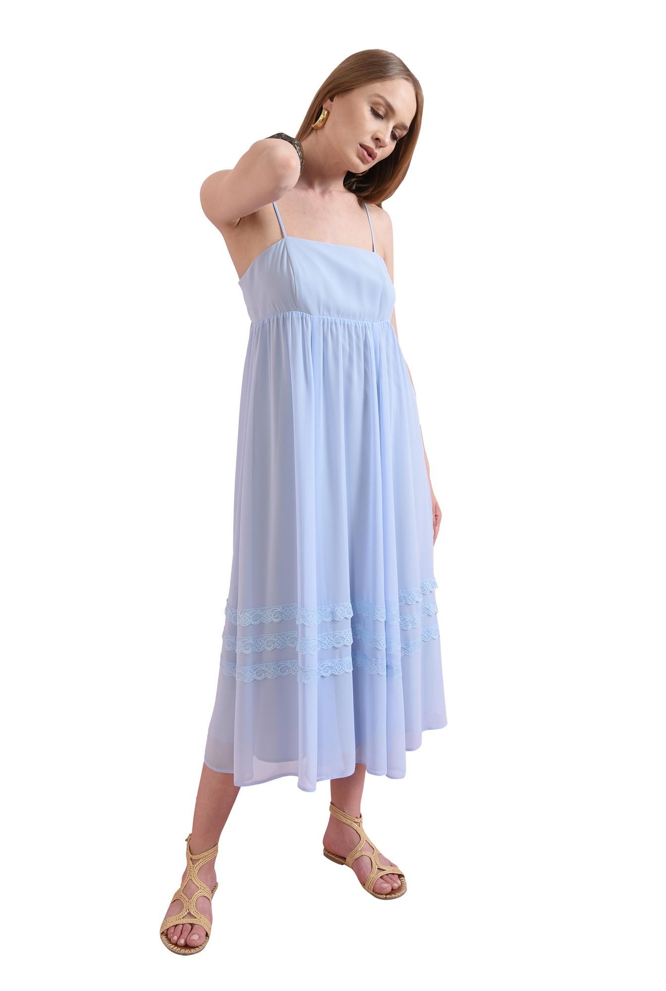 rochie midi, evazata, bleu, Poema
