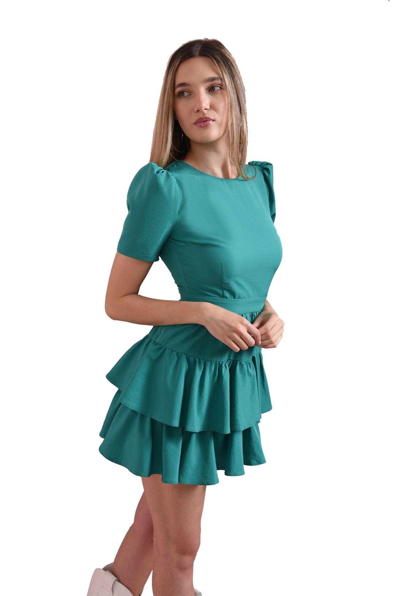 rochie cu volane, verde, Poema