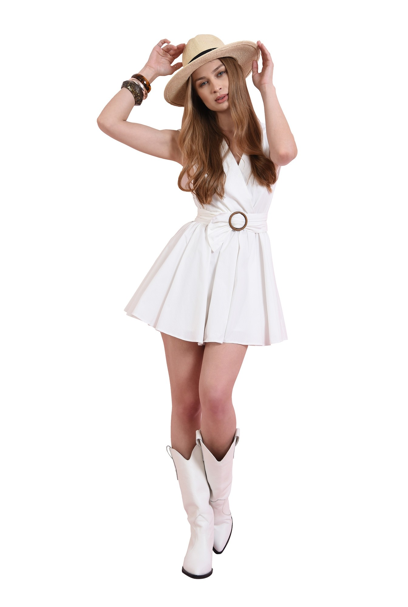 rochie mini, evazata, din bumbac