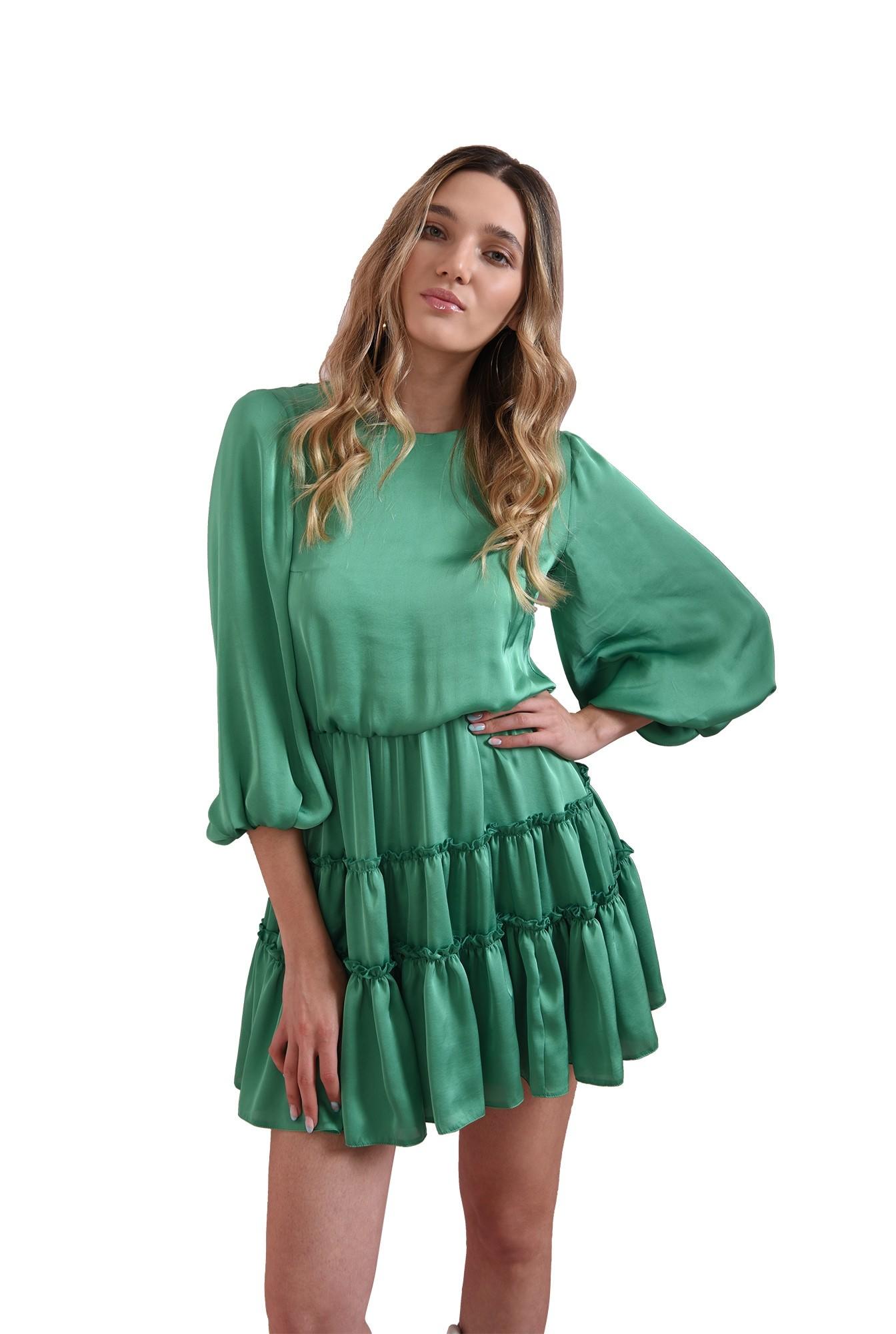 rochie verde, scurta, din satin