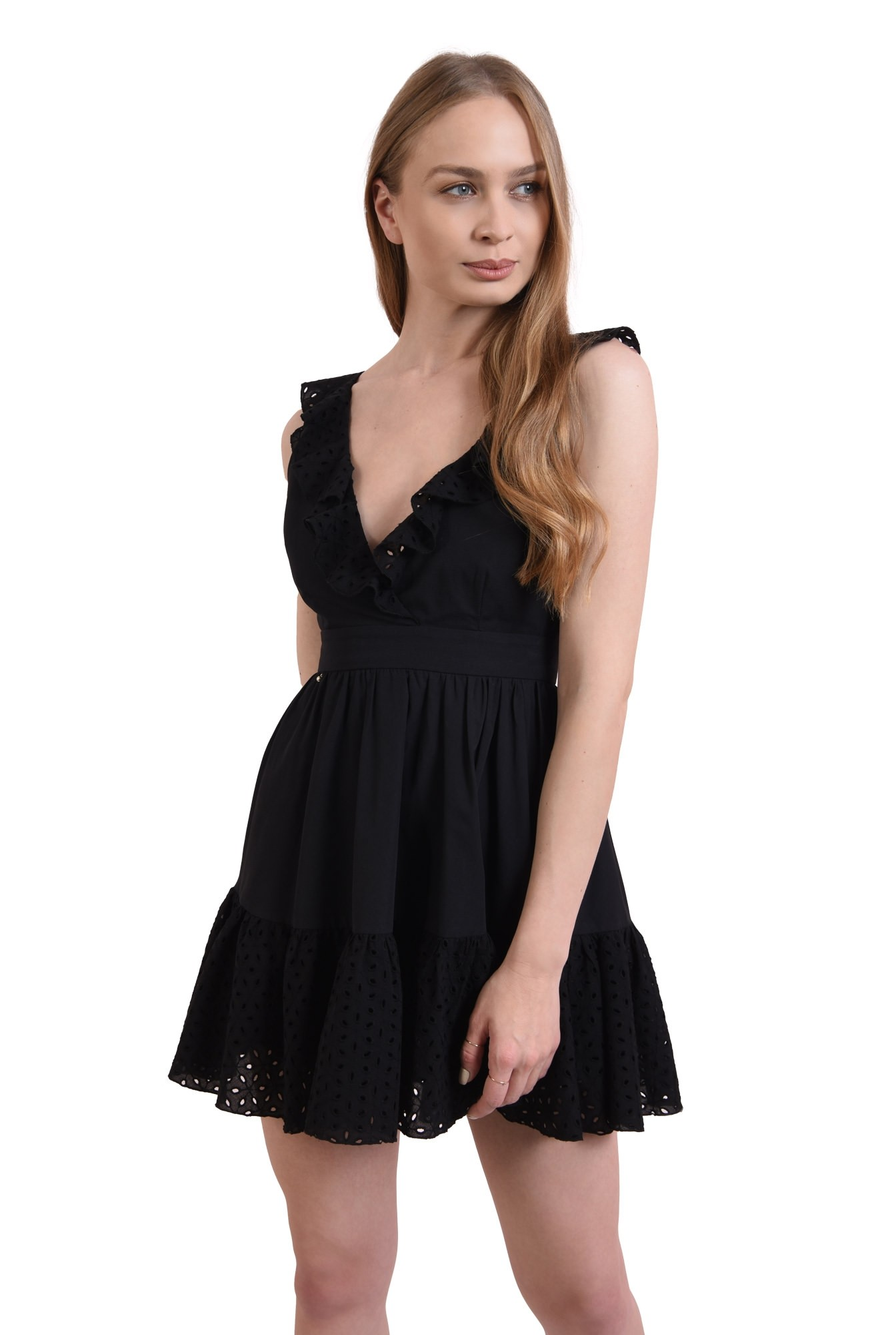 rochie neagra, din bumbac perforat