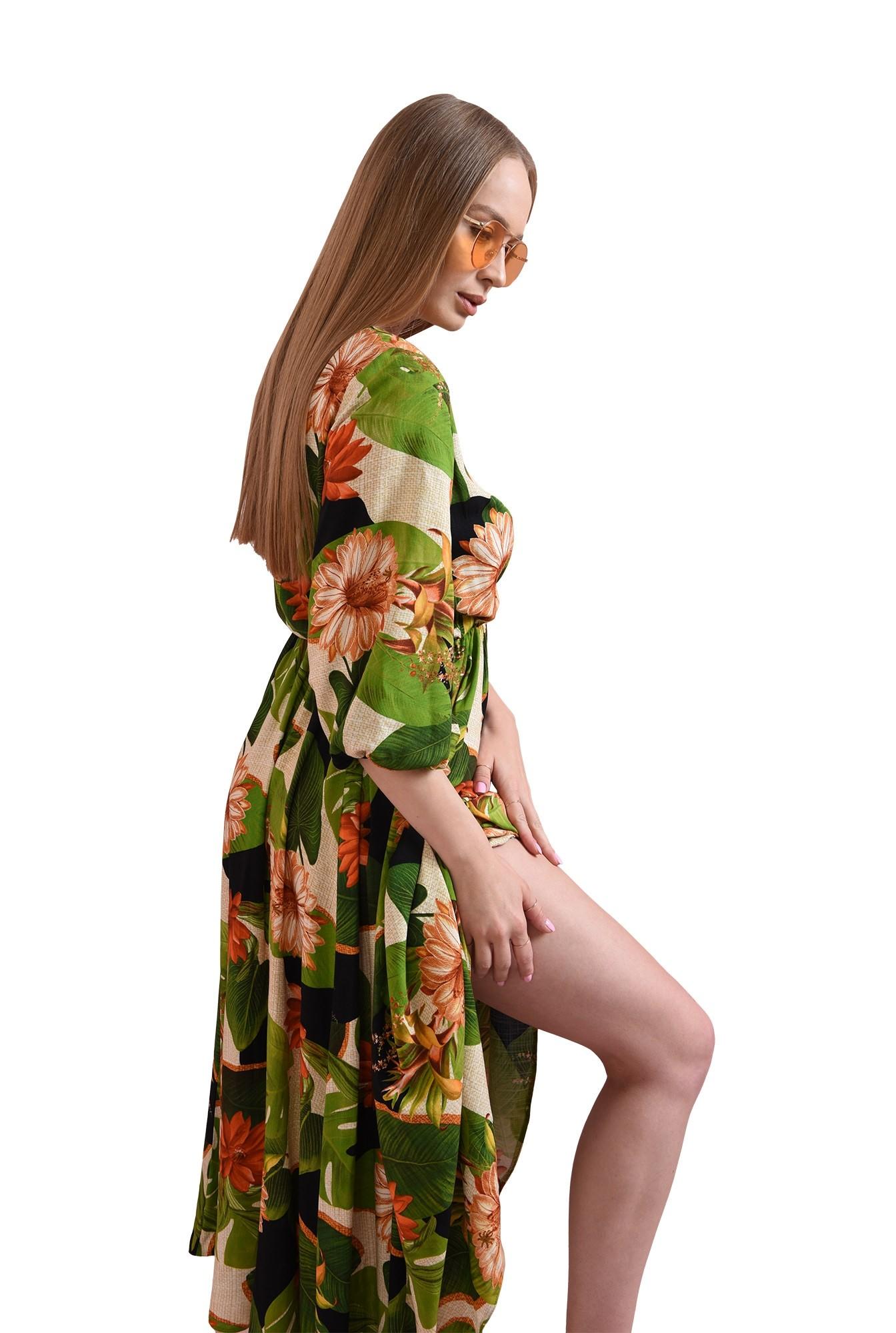 rochie evazata, cu print floral