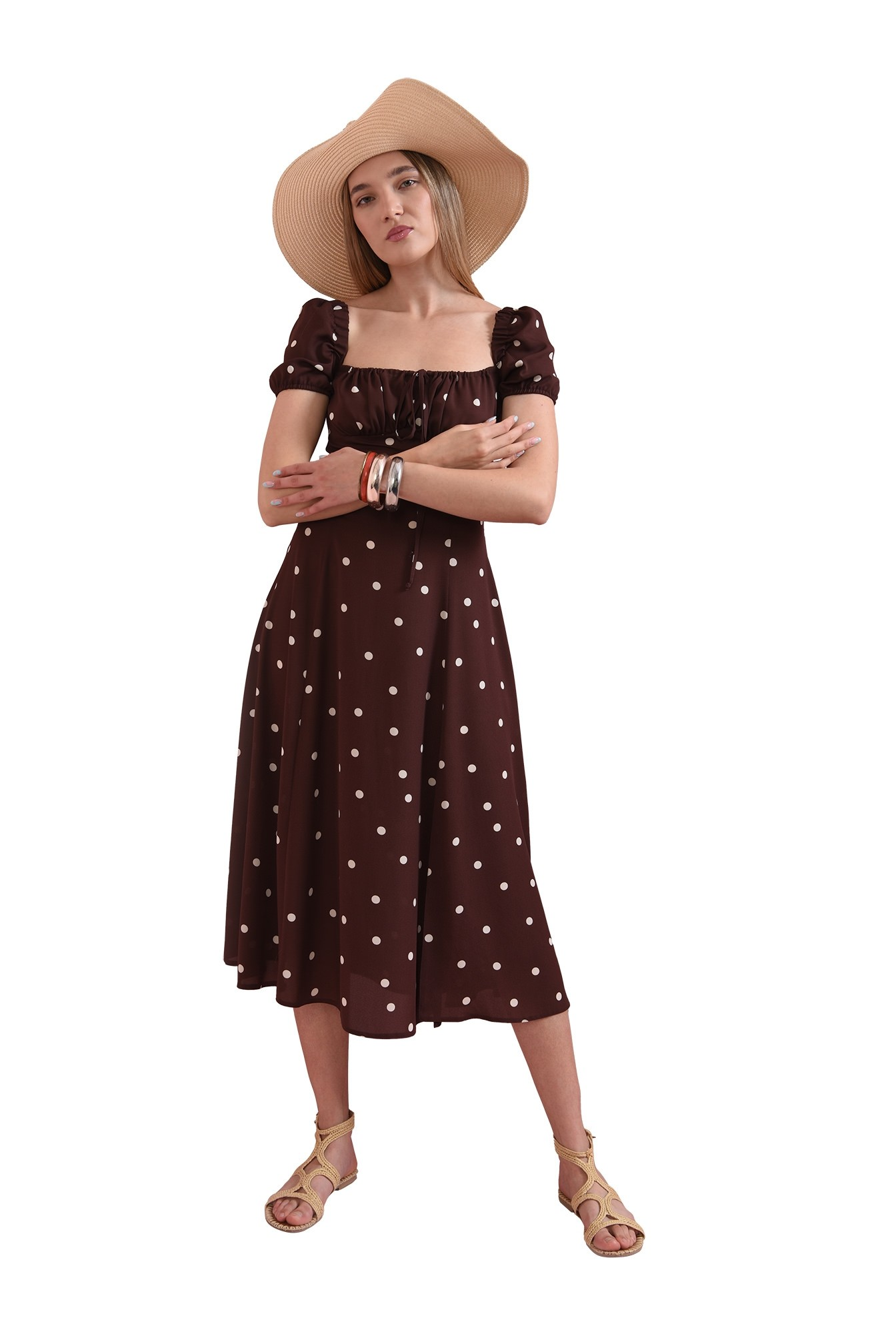 rochie de vara, cu print, cu snur