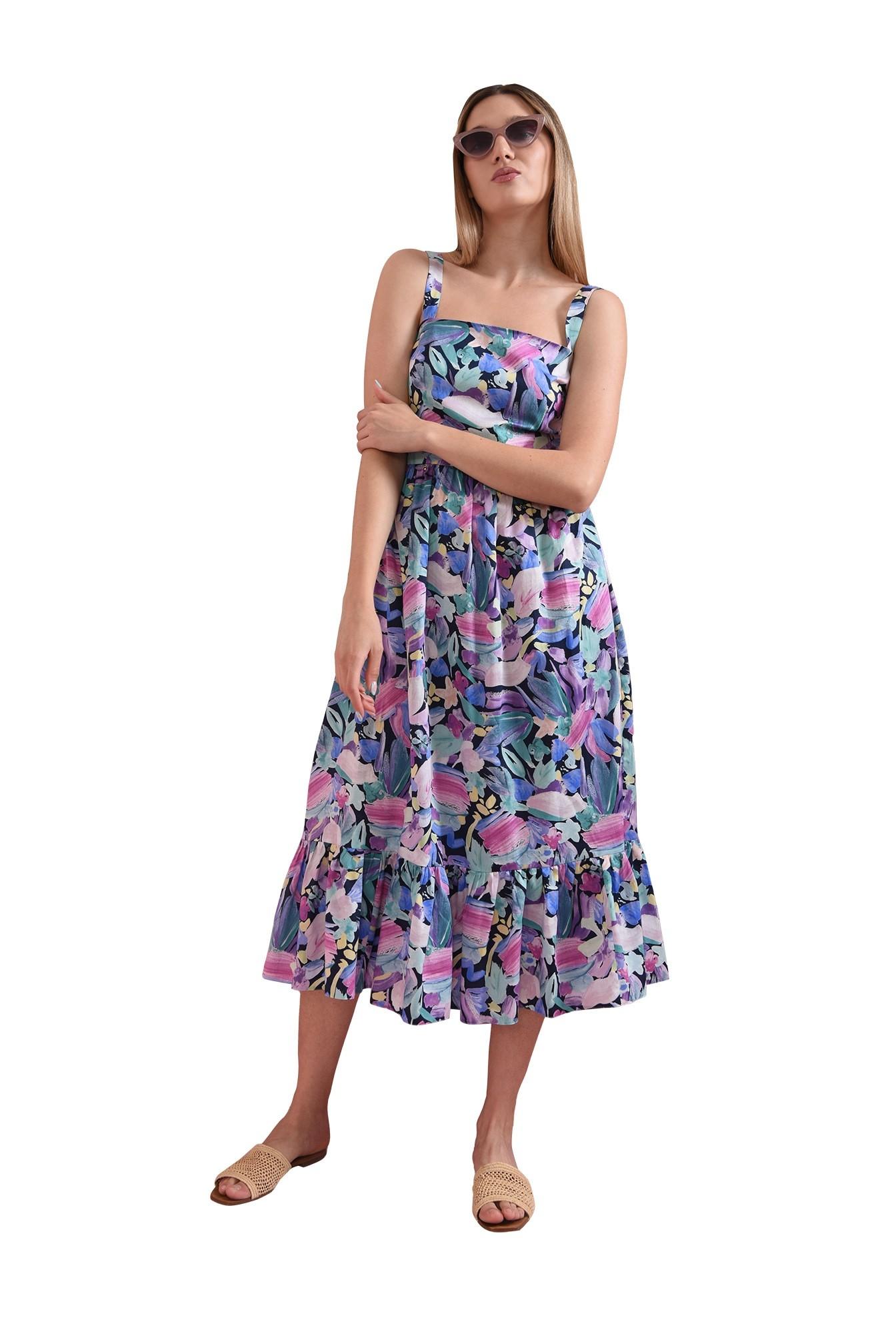 rochie cu imprimeu multicolor, cu bretele