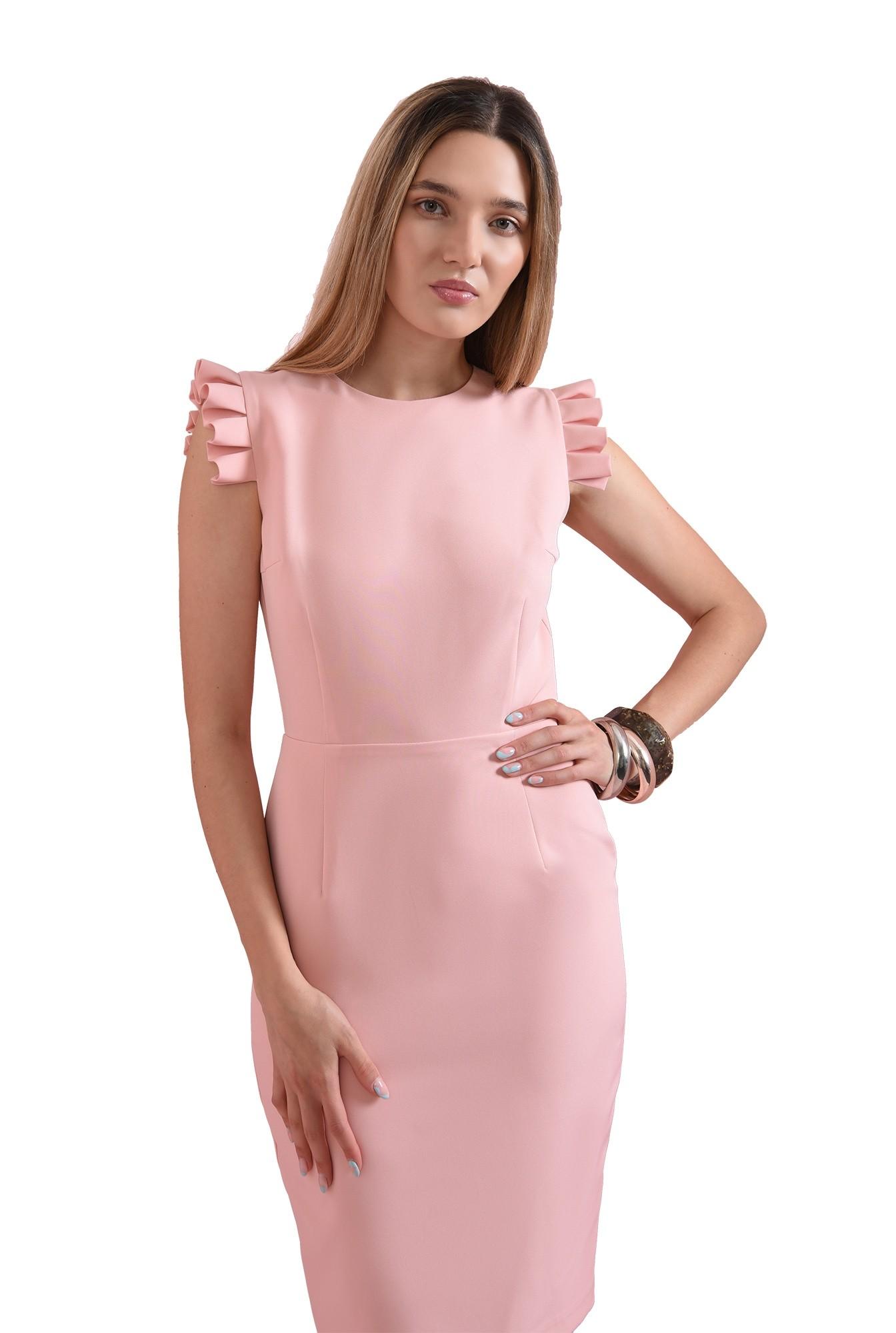rochie roz, cu volane plisate, Poema
