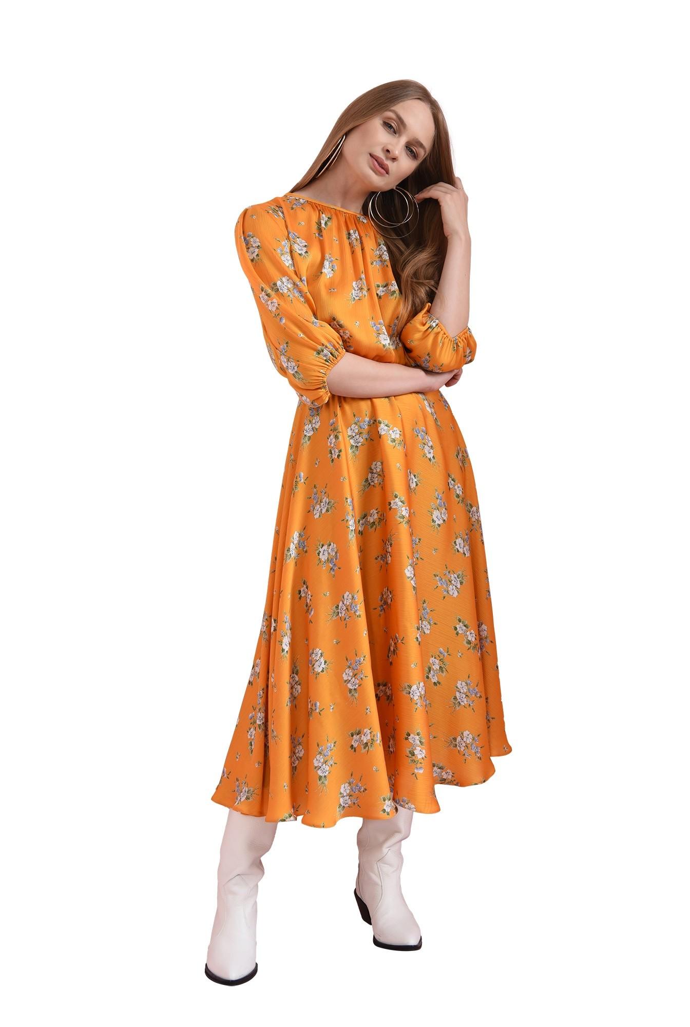 rochie cu flori, mustar, cu maneca lunga