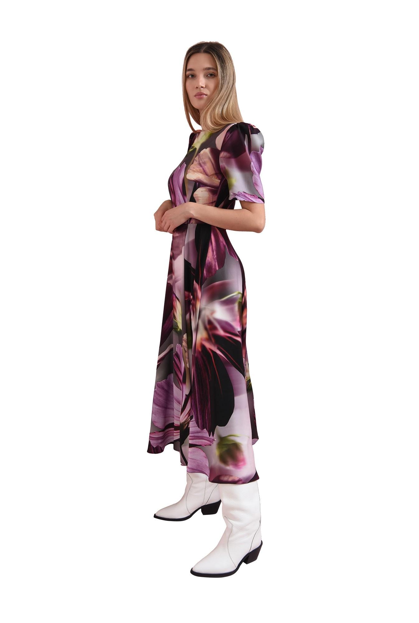 rochie mov, cu maneca scurta