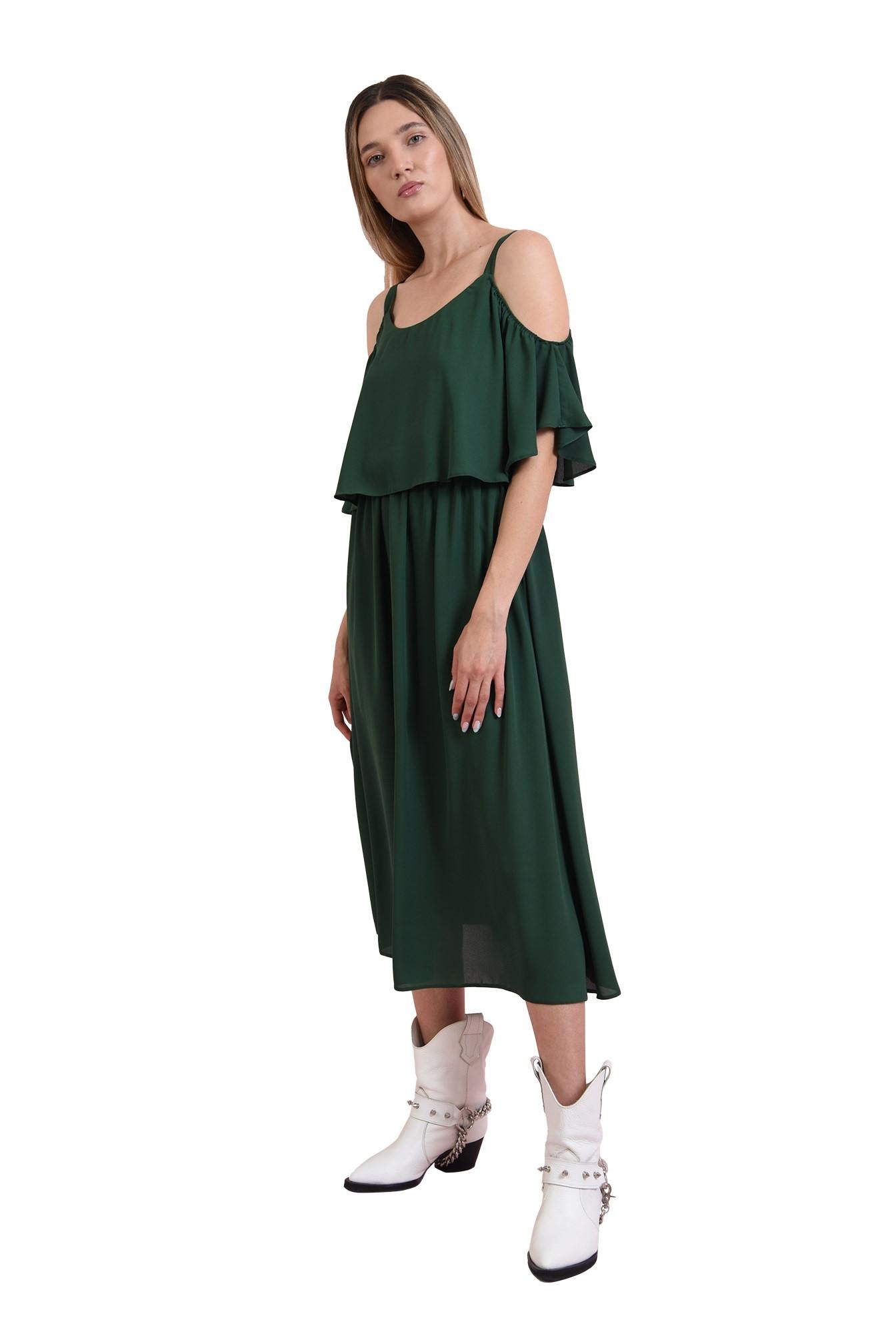 rochie casual, verde, evazata
