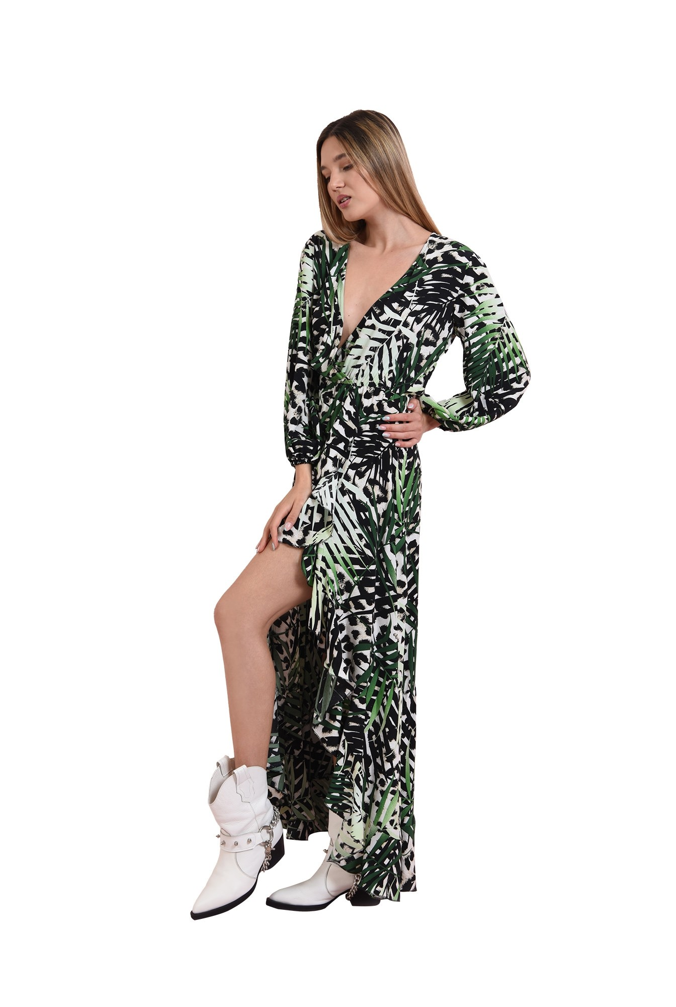 rochie cu imprimeu botanic, cu maneca voluminoasa