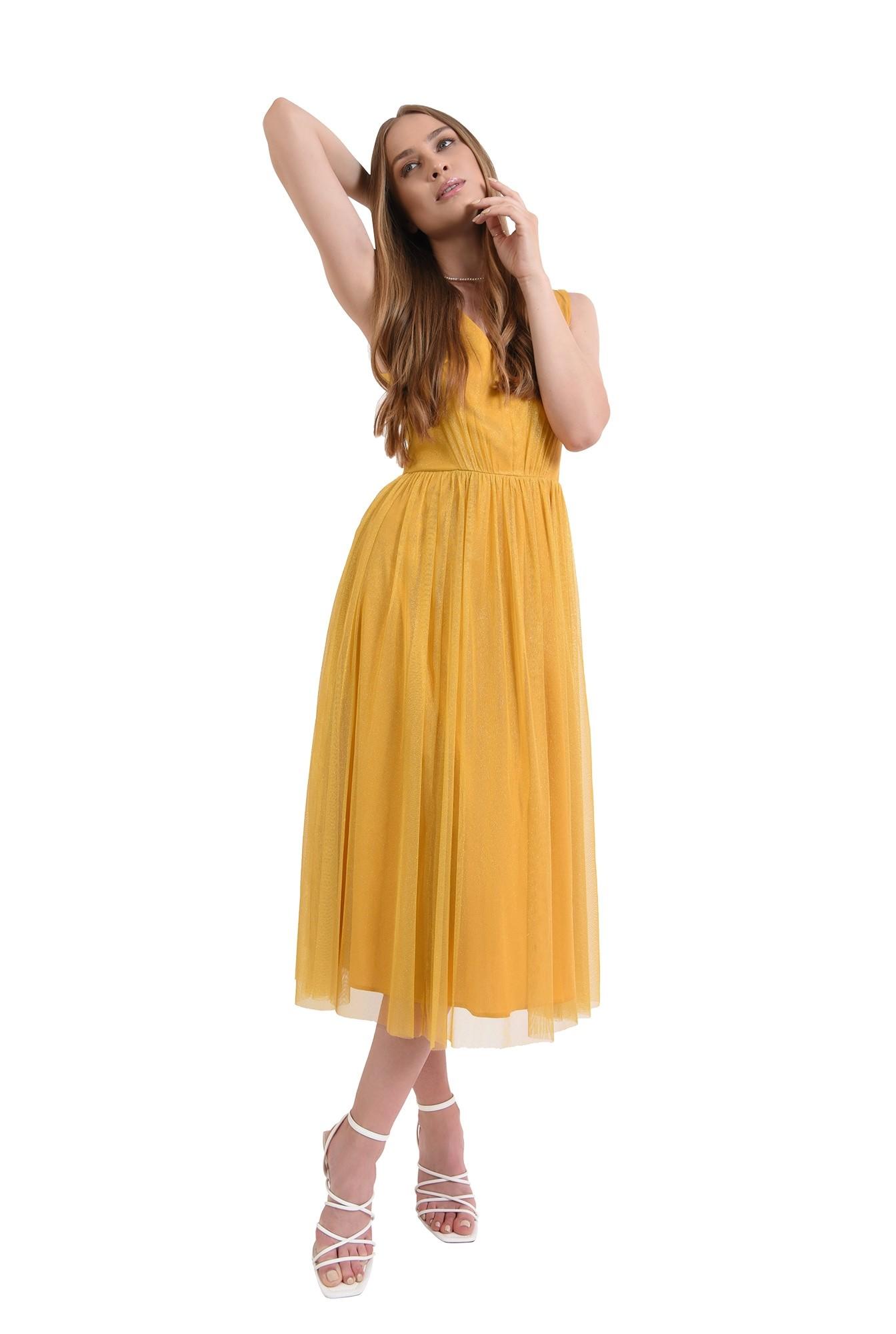 rochie eleganta, mustar, din tul