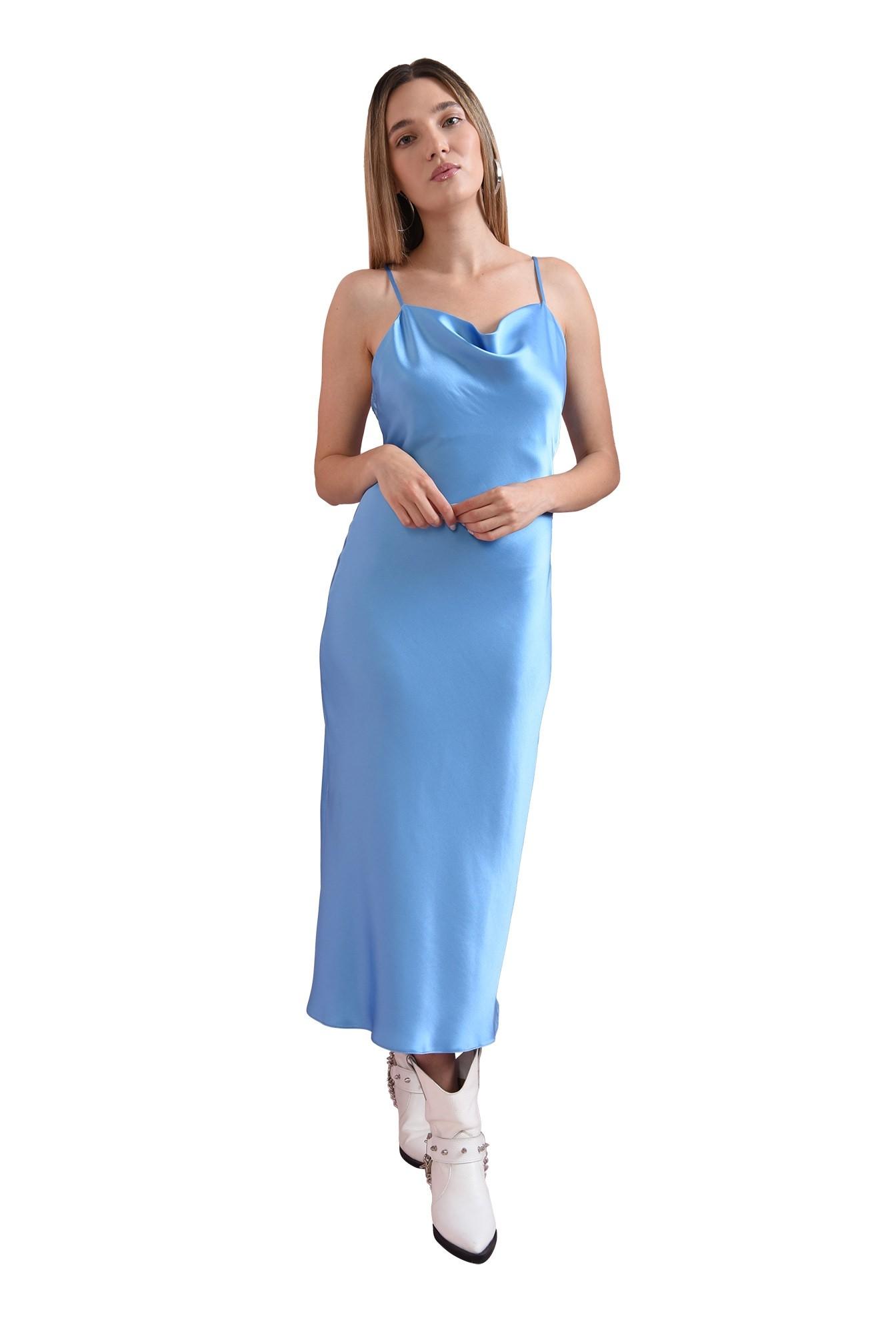 rochie bleu, cu bretele subtiri, Poema