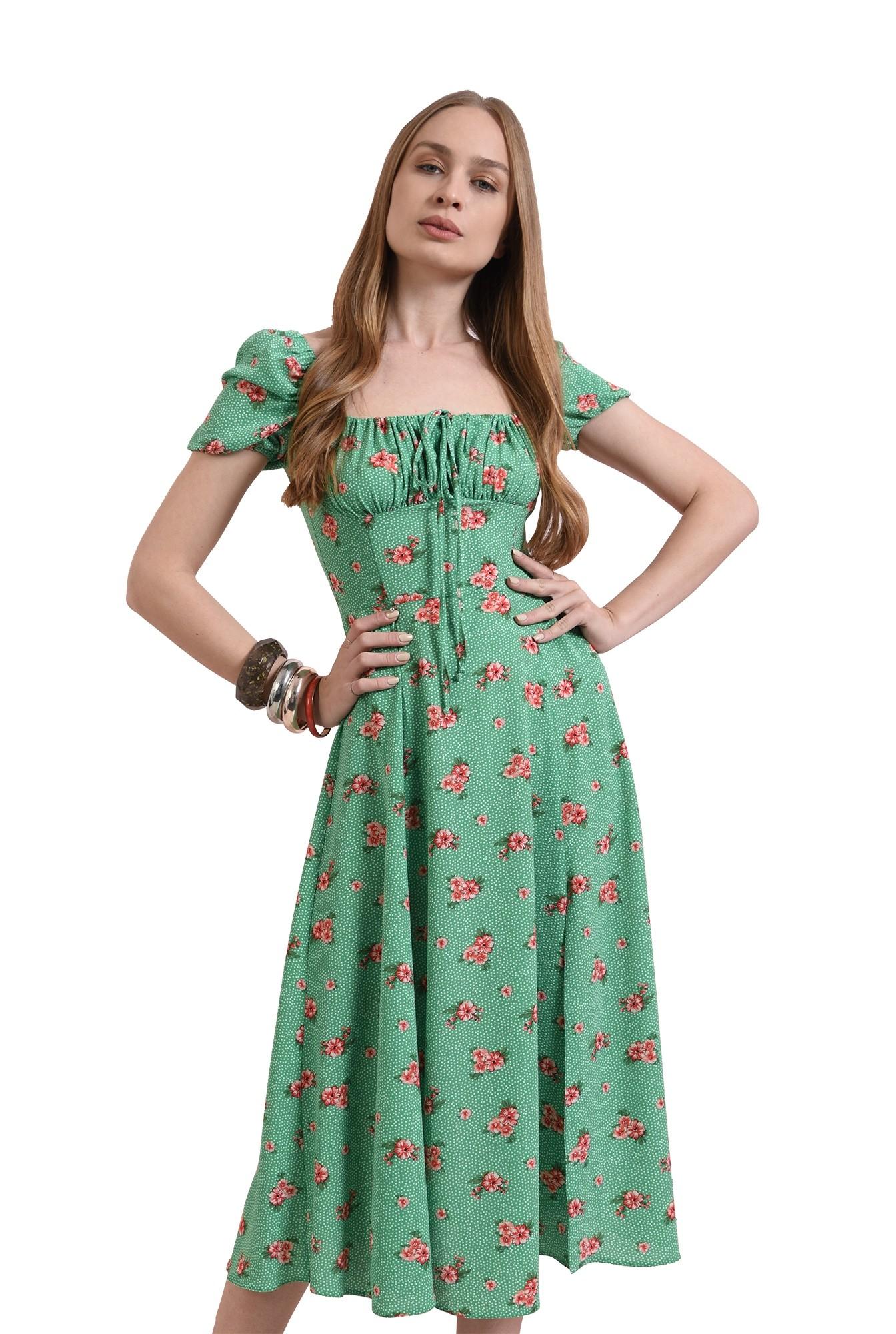 rochie midi, evazata, verde, Poema