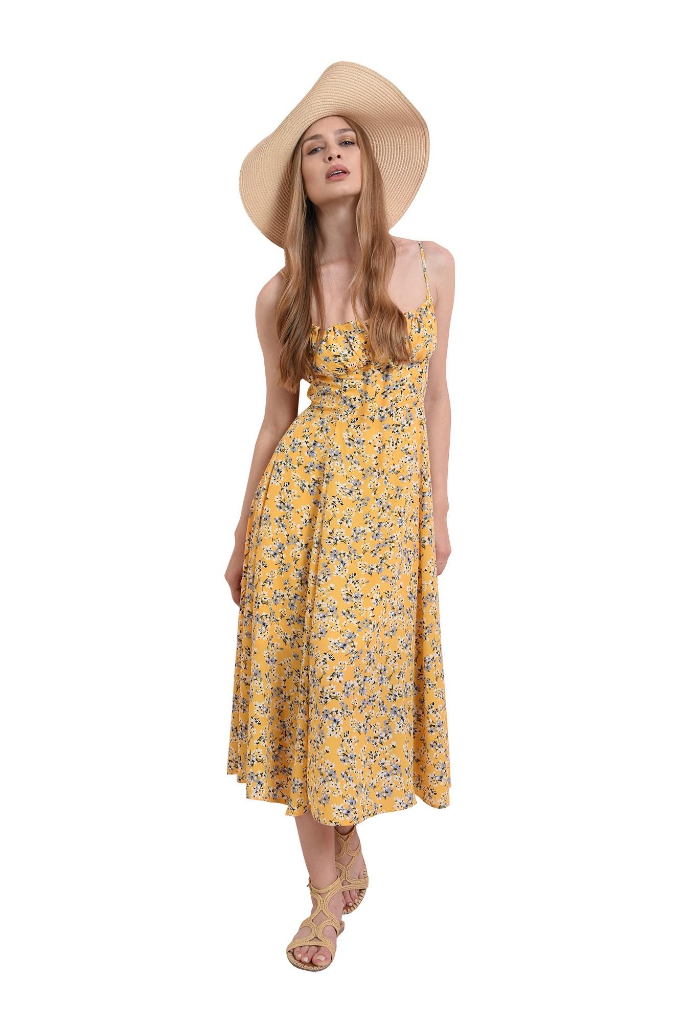 rochie de vara, cu imprimeu, cu decolteu incretit