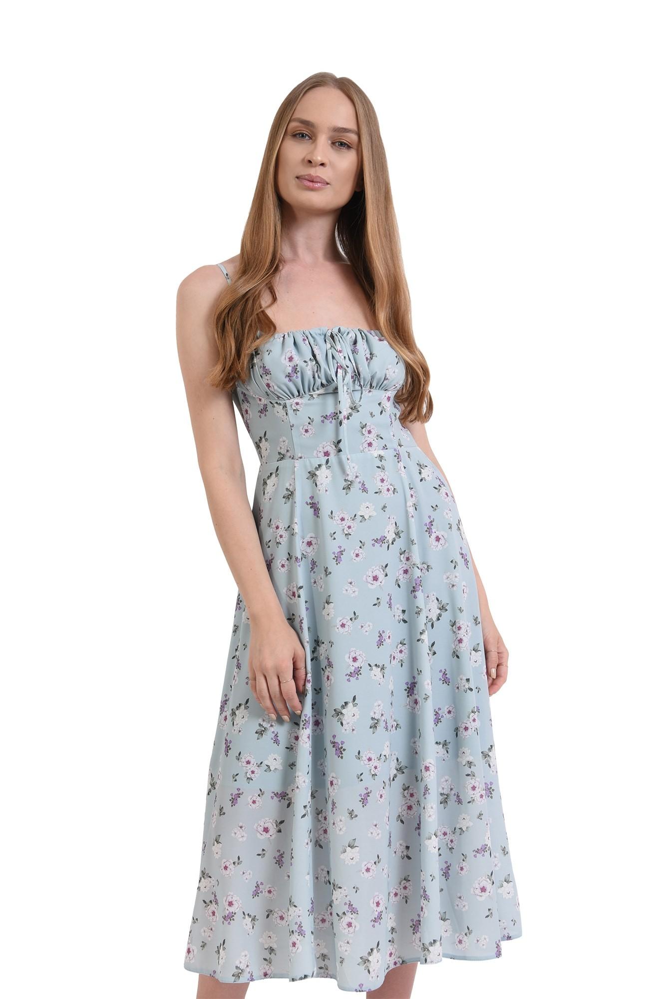 rochie de vara, cu print, cu bretele, Poema