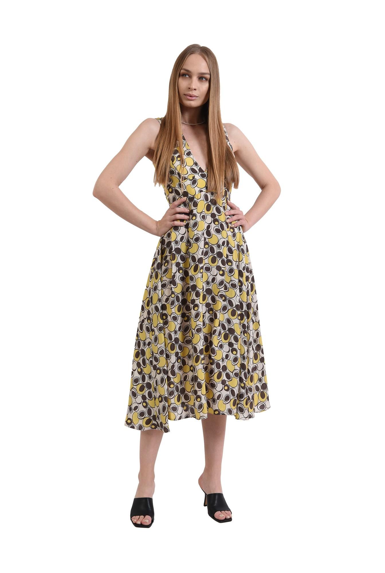rochie casual, cu print, evazata, Poema