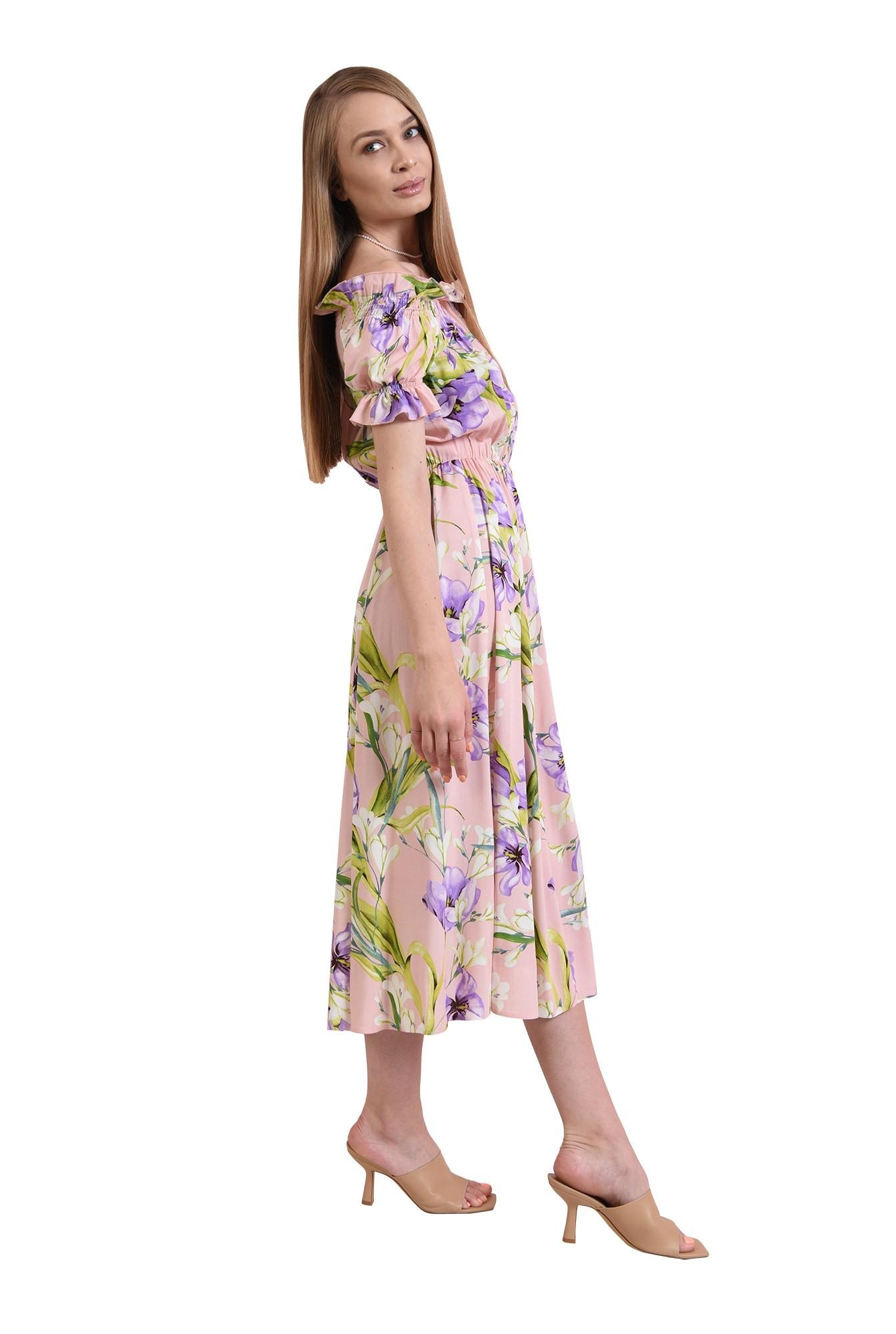 rochie cu print, cu maneca scurta
