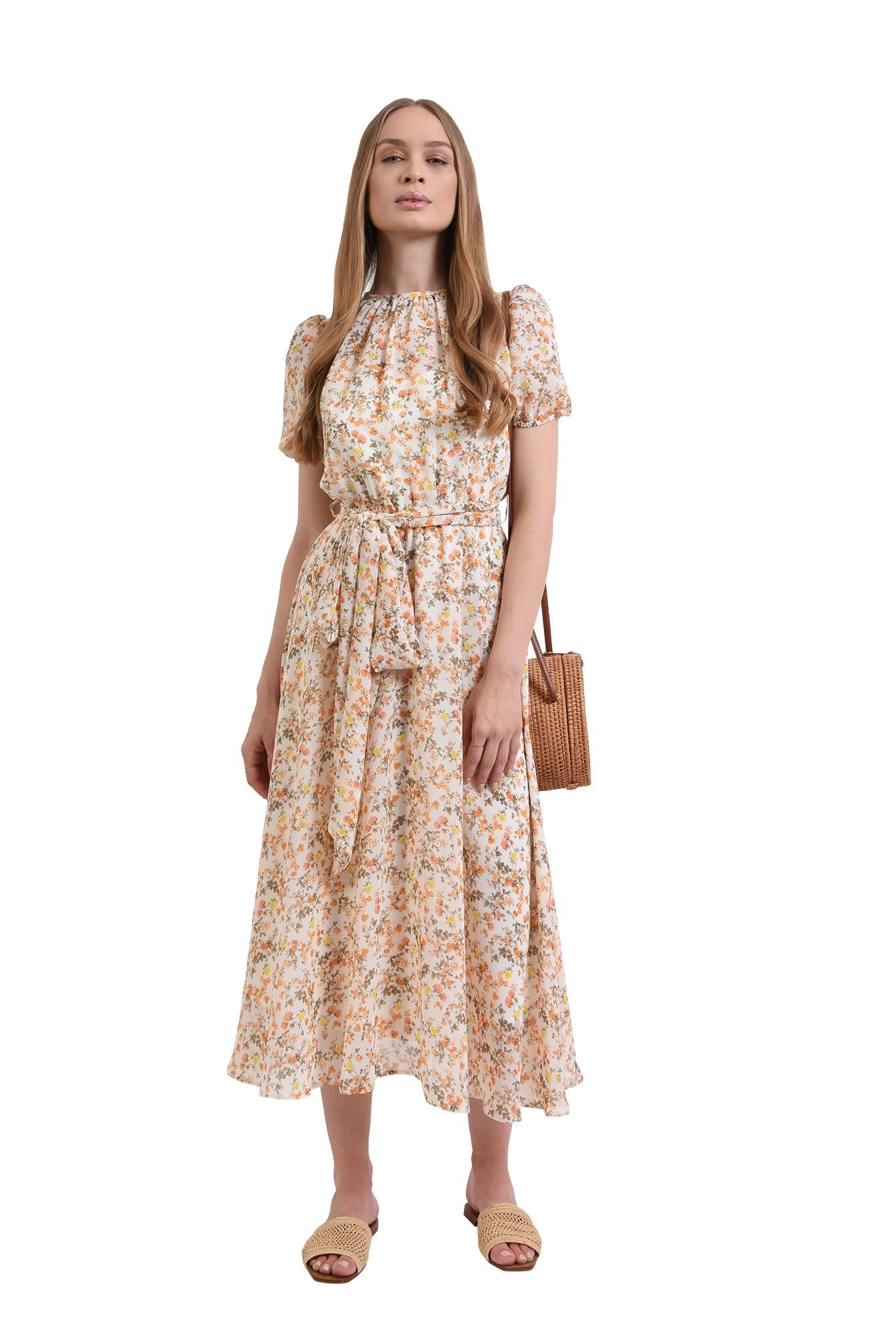 rochie cu imprimeu floral, cu cordon, Poema