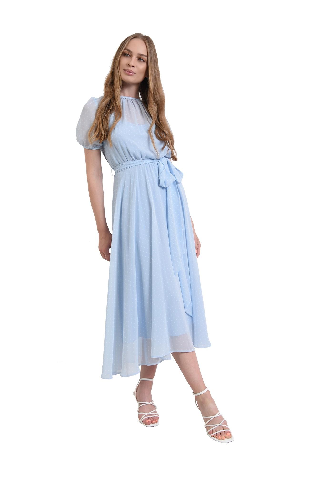 rochie bleu, din voal, cu imprimeu