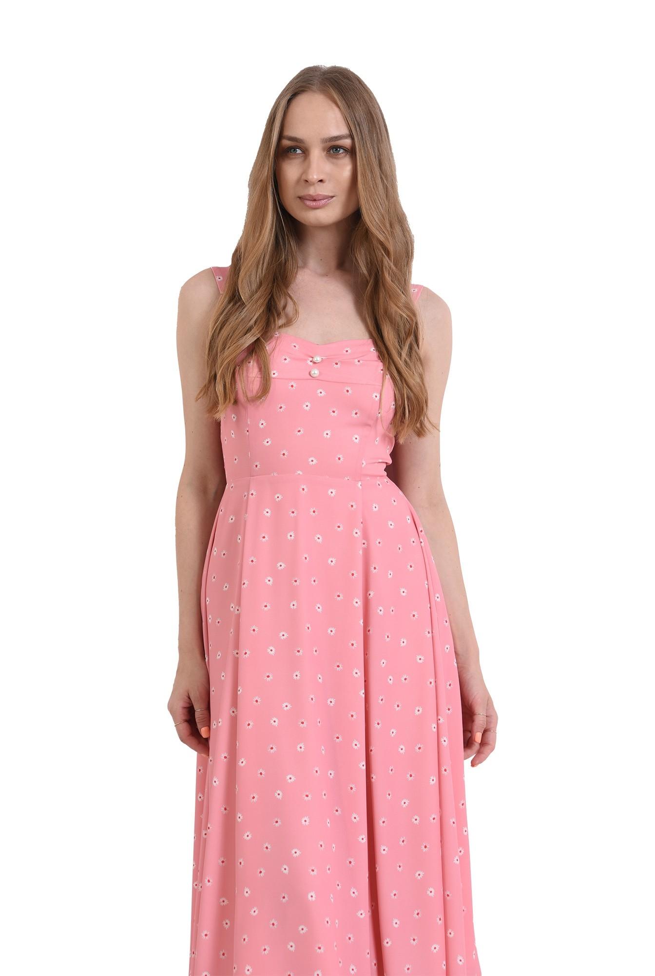 rochie roz, cu print floral, cu nasturi perla