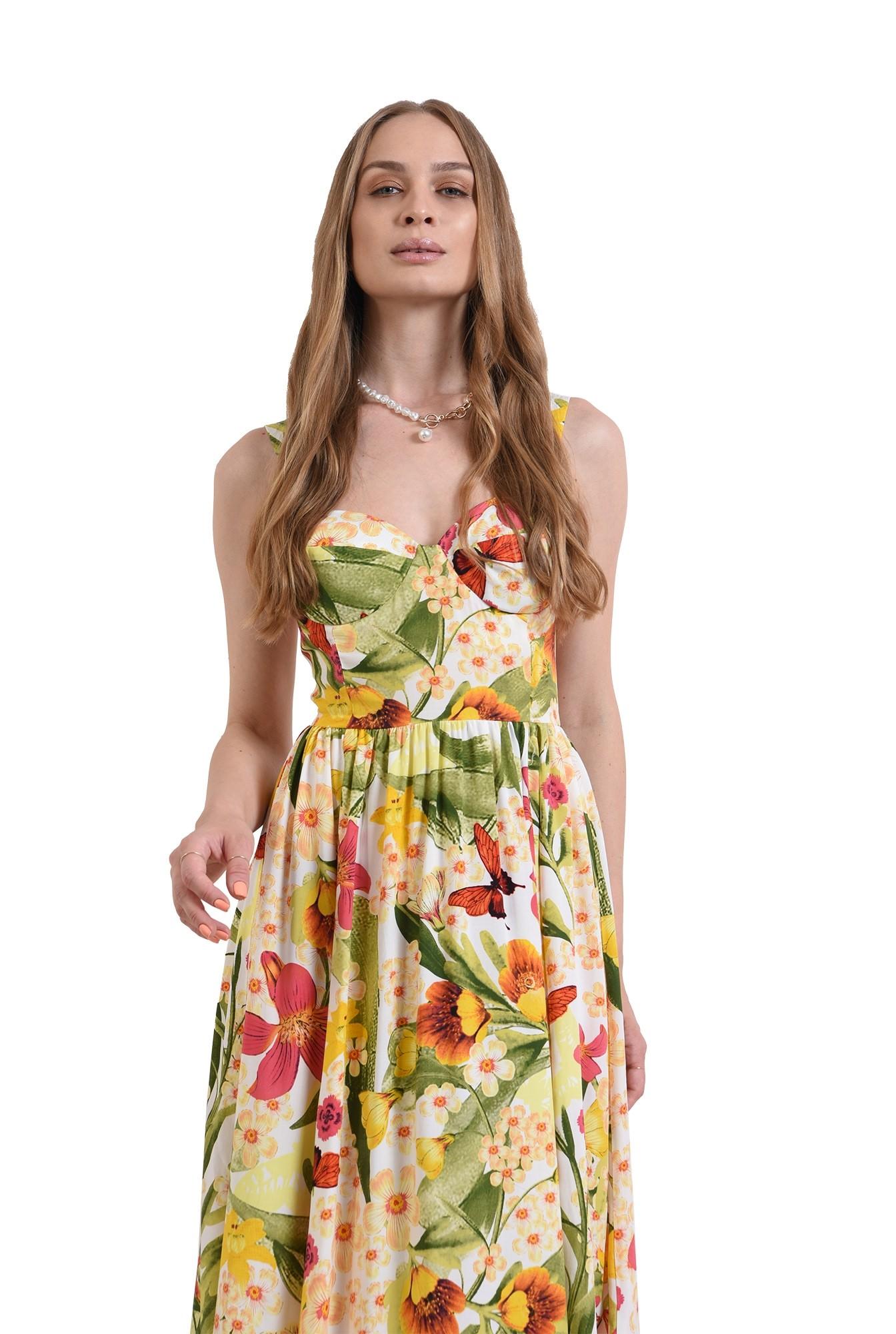 rochie midi, cu imprimeu floral, evazata