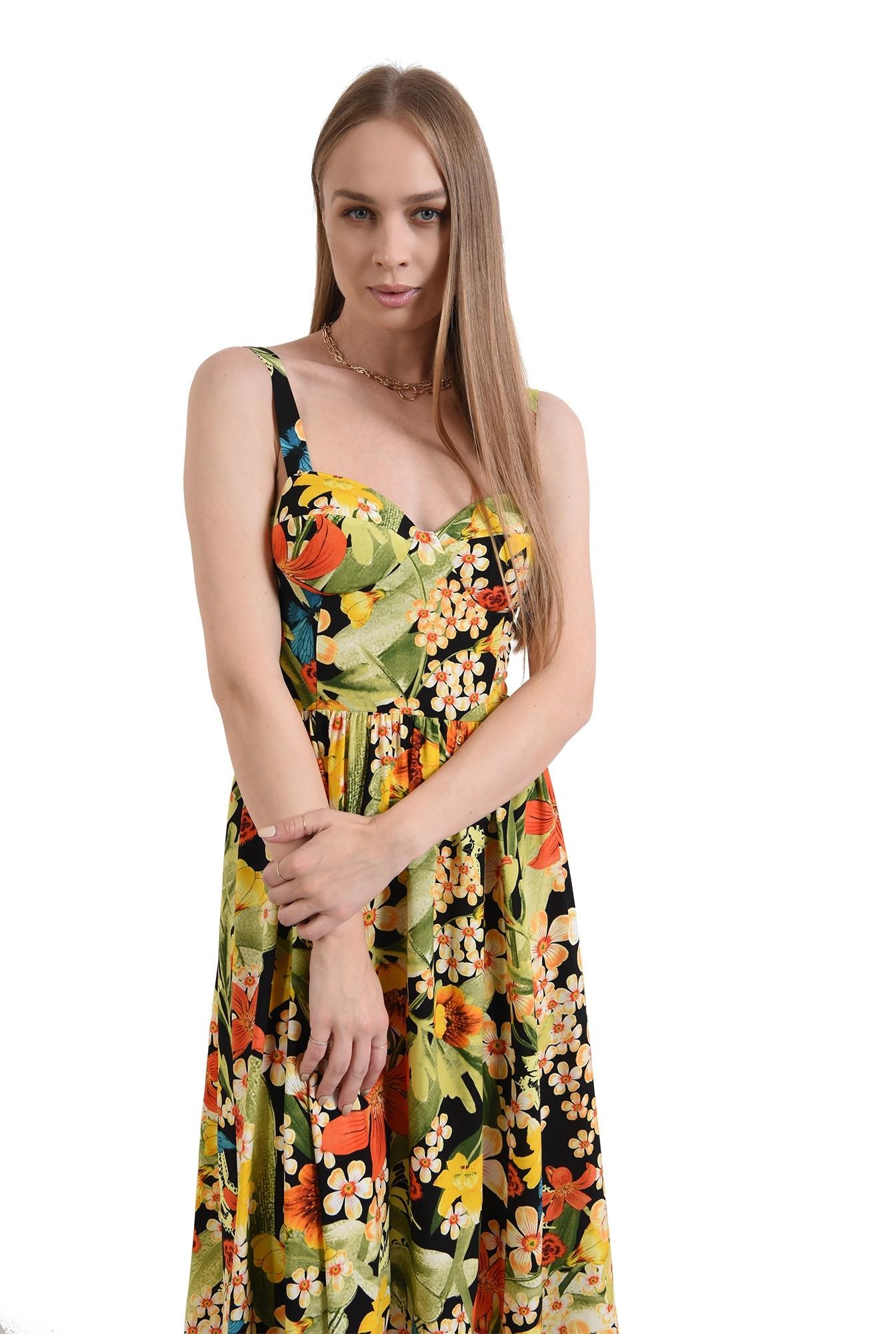 rochie midi, evazata, cu flori