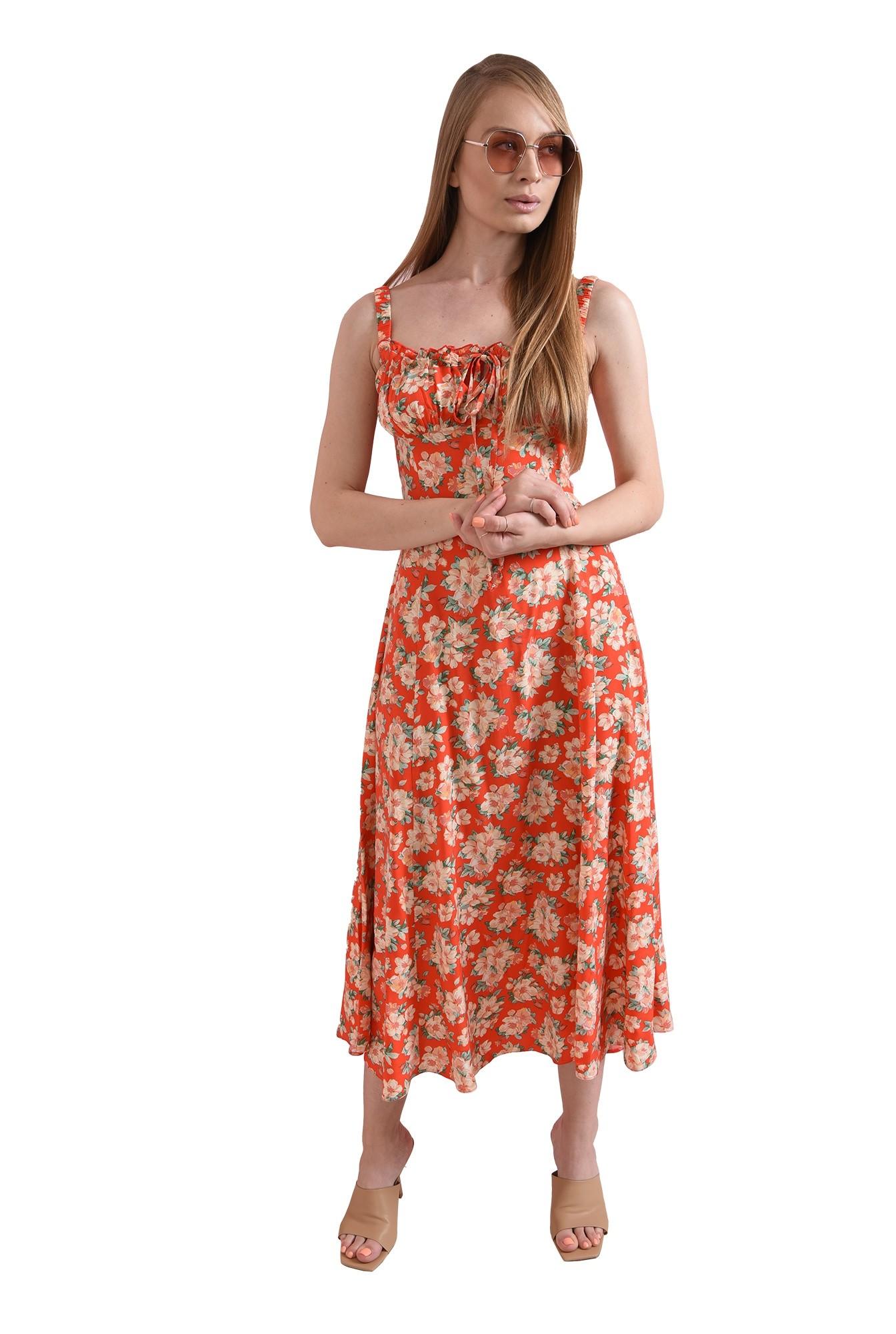 rochie casual, de vara, cu flori, cu bretele