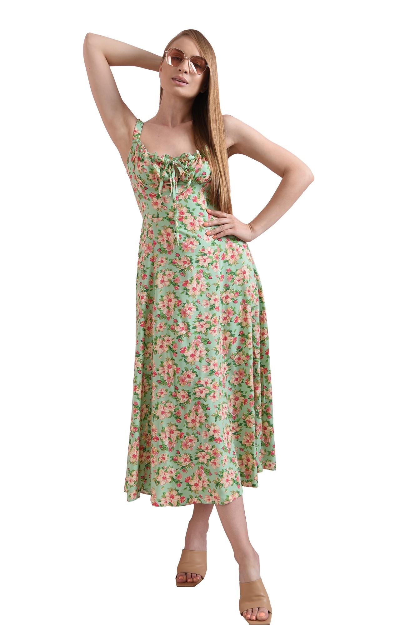 rochie casual, cu motive florale, cu decolteu incretit