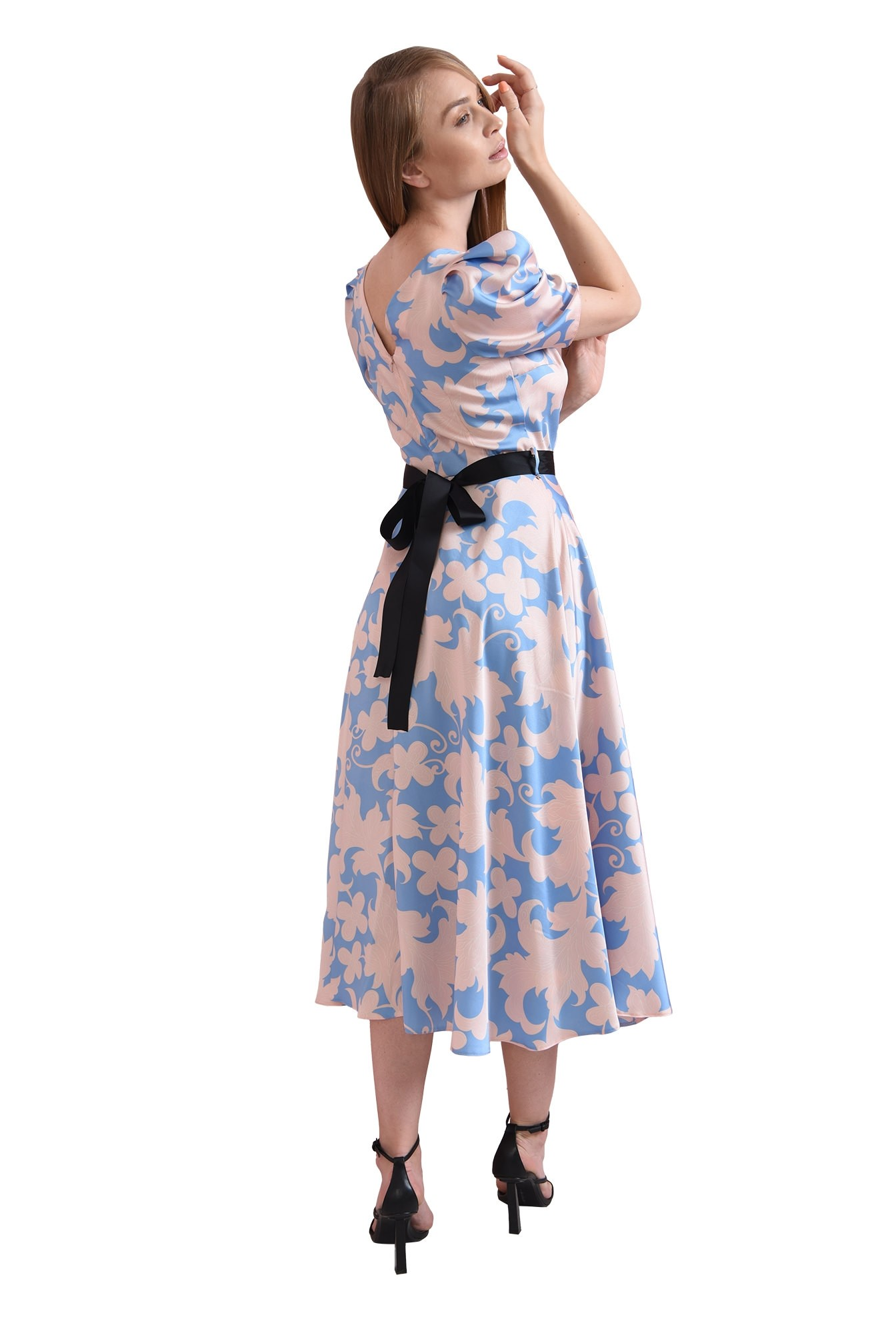 rochie evazata, bleu, cu flori