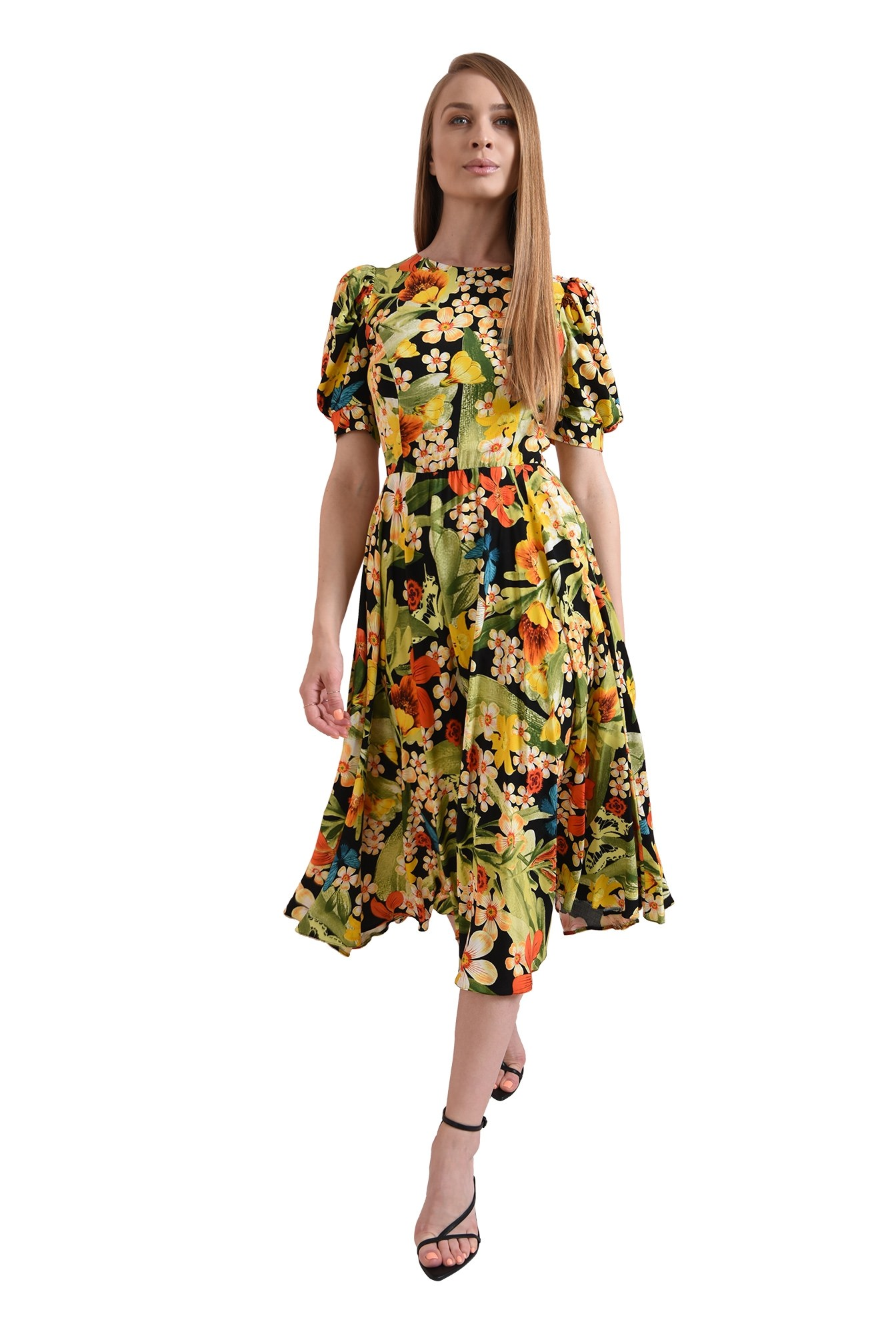 rochie cu imprimeu, evazata, Poema