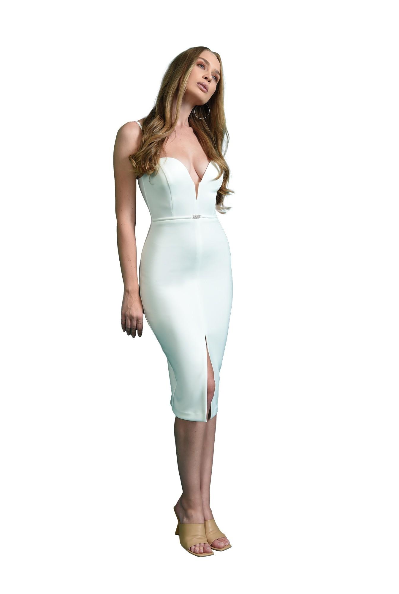 rochie cu accesoriu, midi, conica