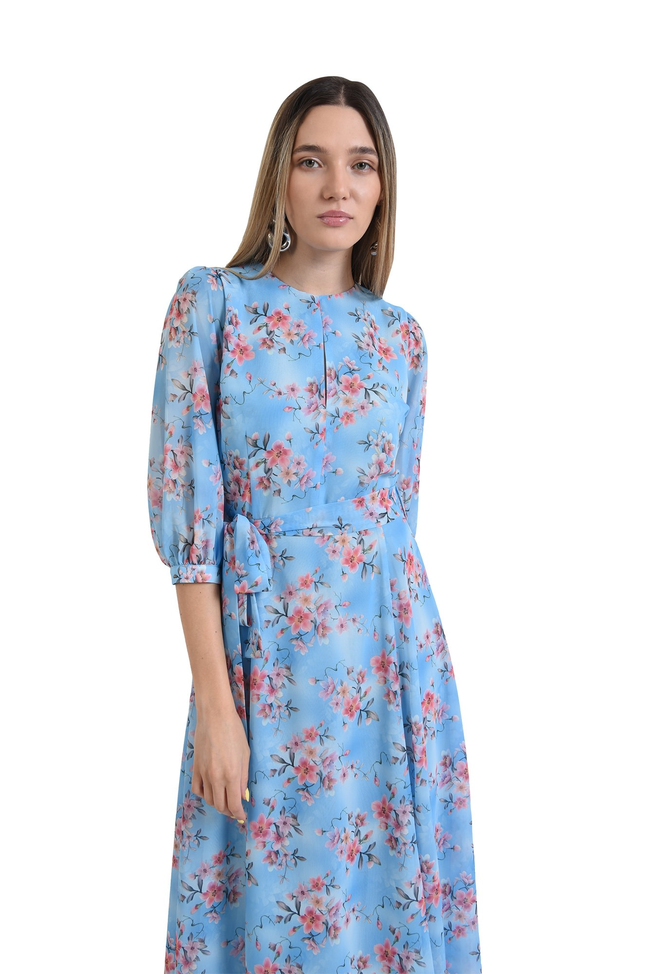 rochie eleganta, poema, bleu, cu flori, midi