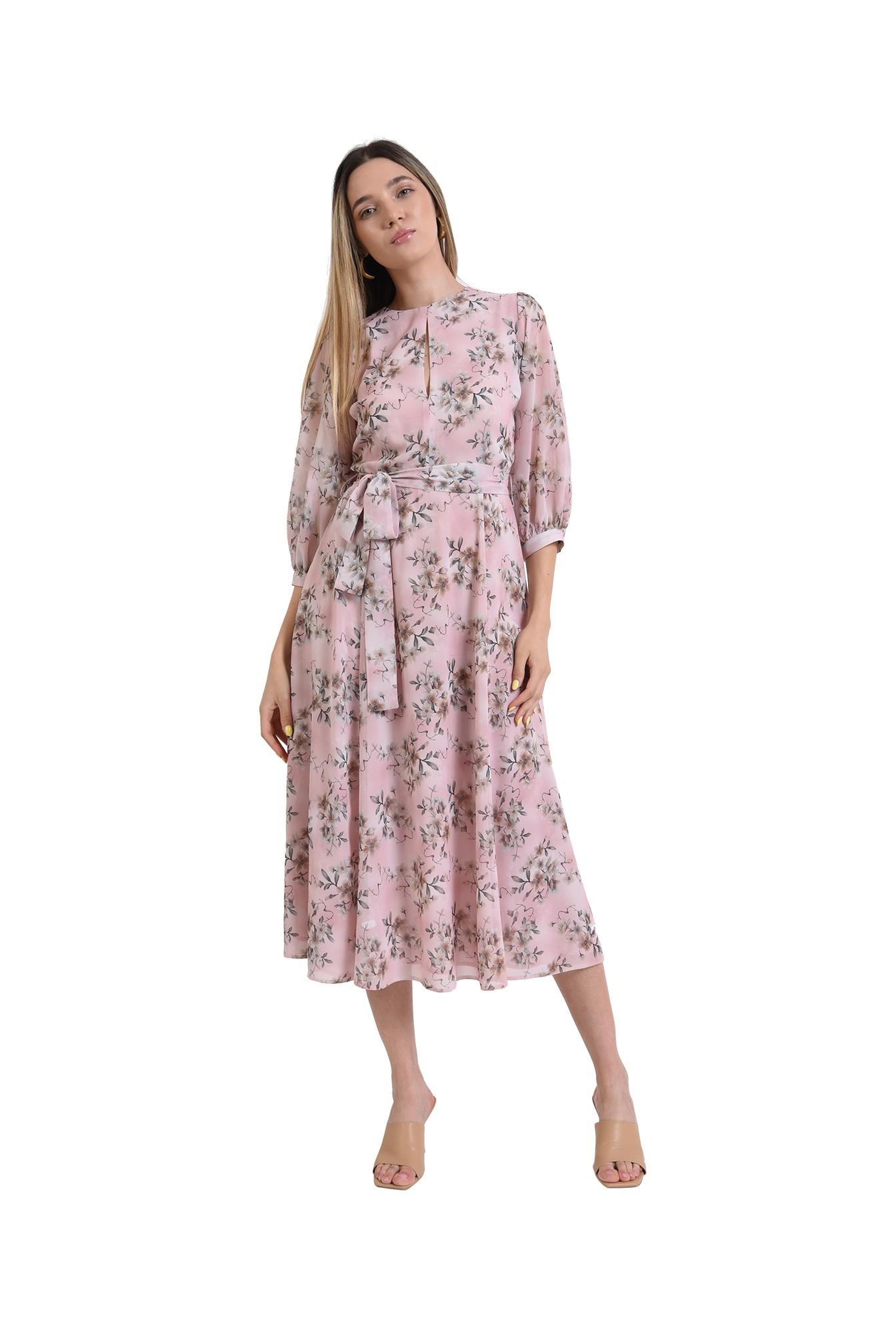 rochie midi, evazata, roz, florala, eleganta