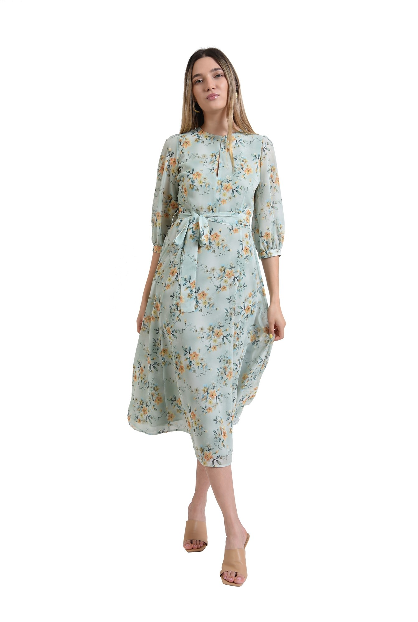 rochie eleganta, verde, pastel, cu flori, poema, evazata