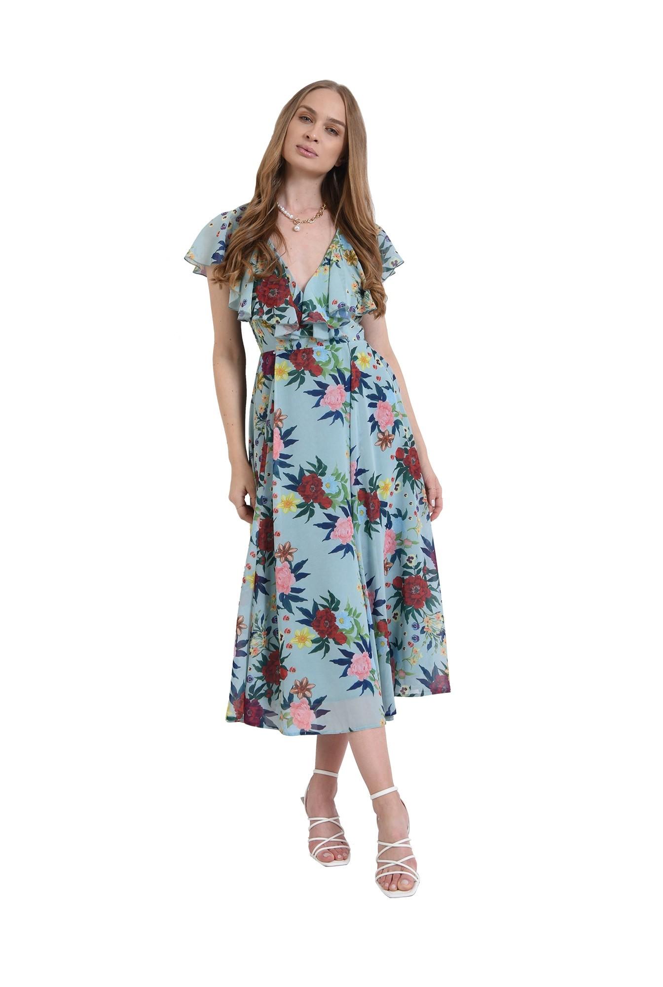 rochie eleganta, cu print, cu volane, Poema