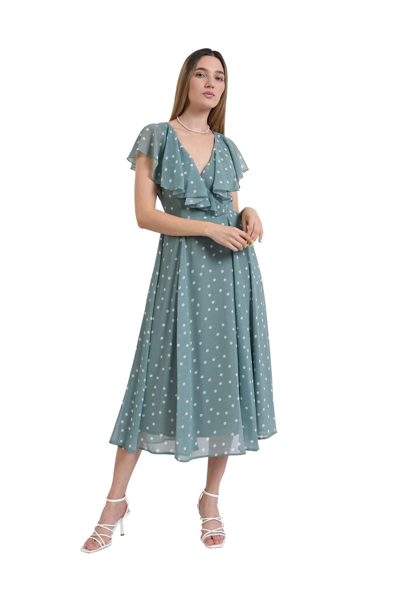 rochie midi, poema, eleganta, cu buline, evazata