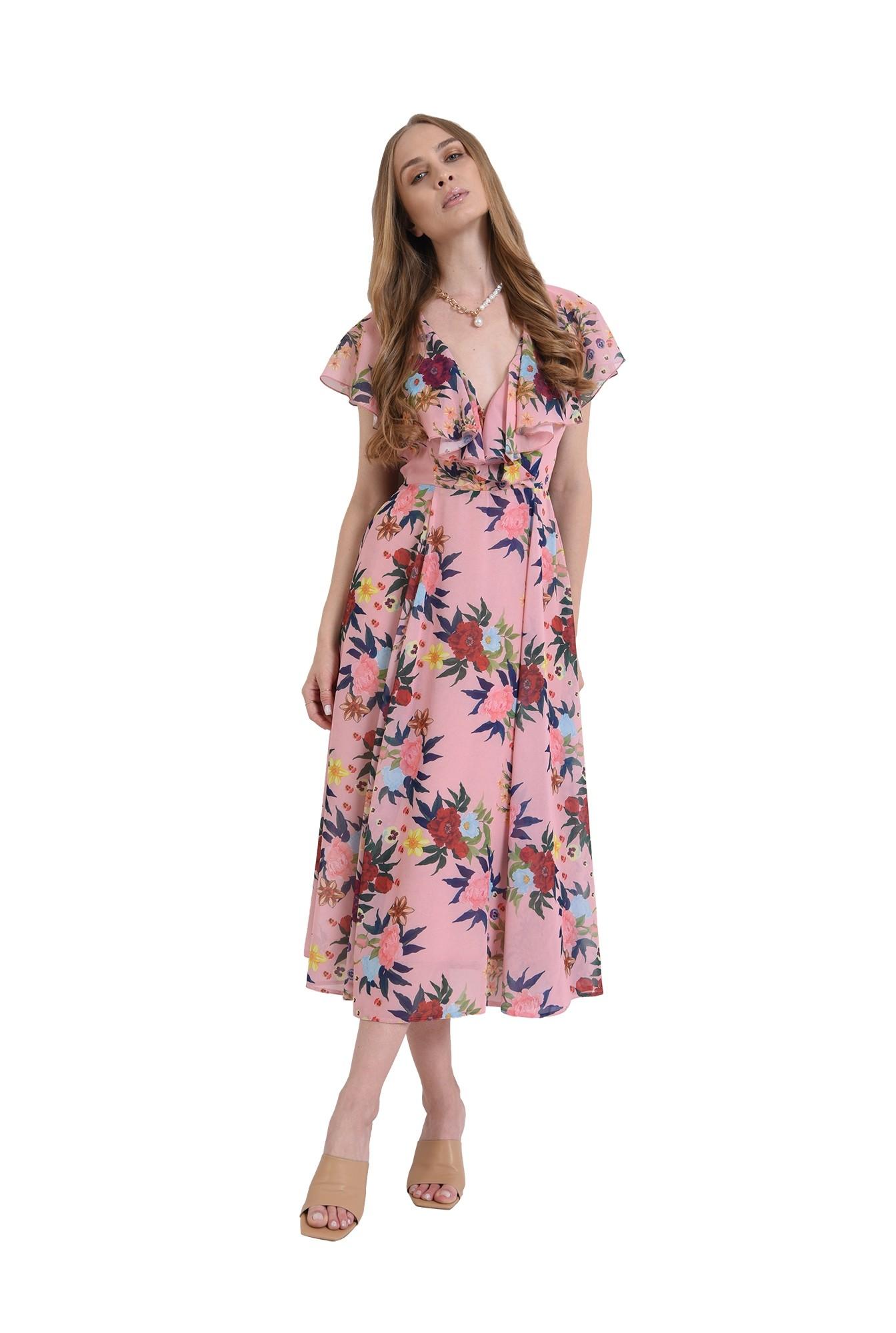 rochie roz, cu volane la anchior, evazata