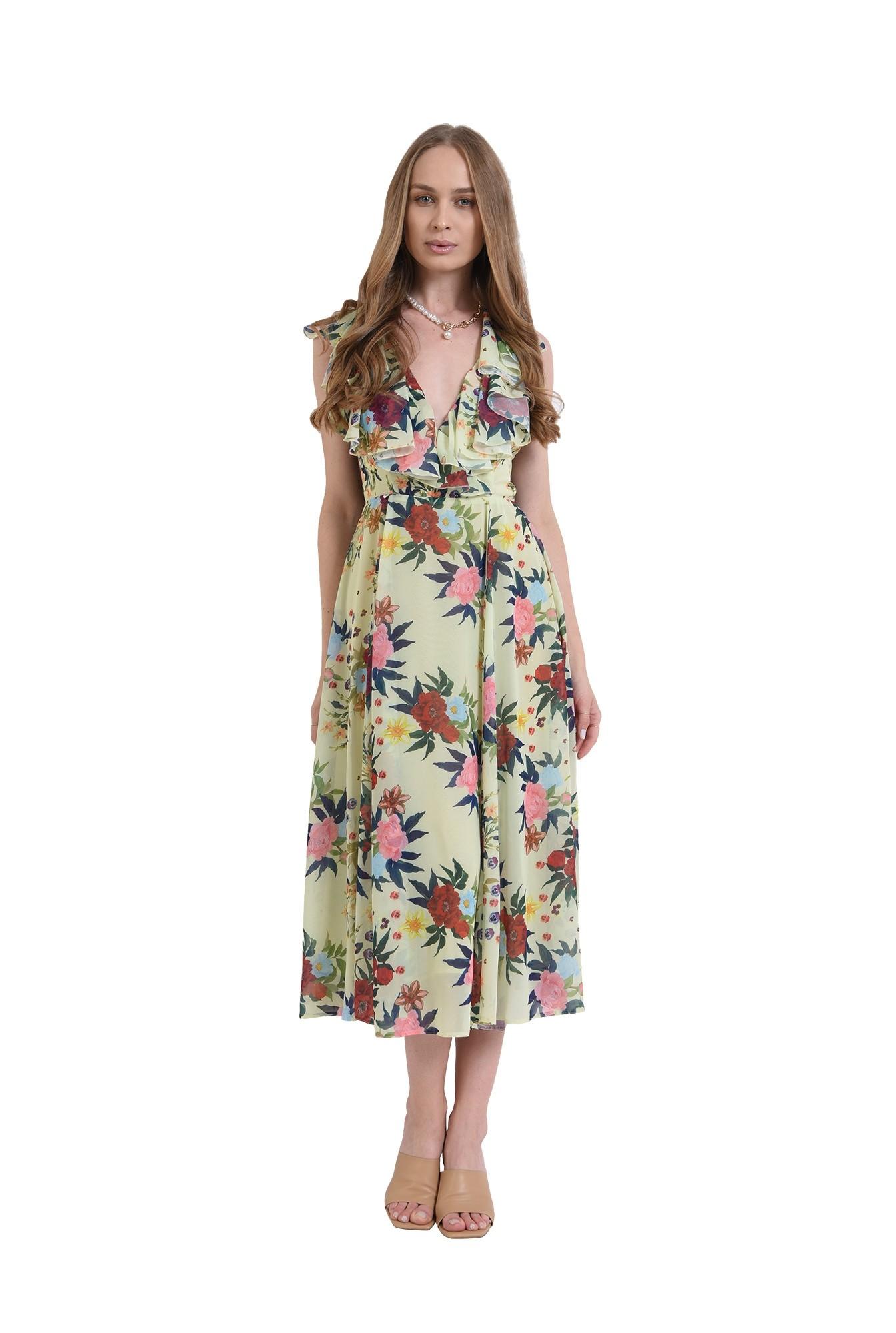 rochie eleganta, poema, cu flori, evazata, midi