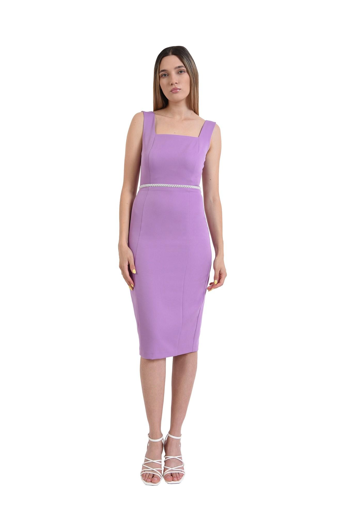 rochie midi, eleganta, lila, aplicatie la talie