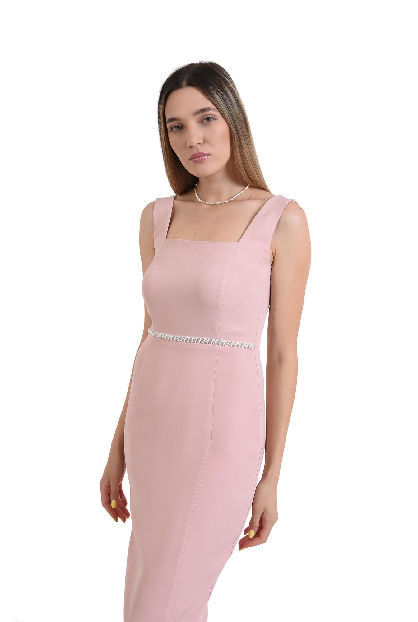 rochie eleganta, midi, conica, cu bretele, roz