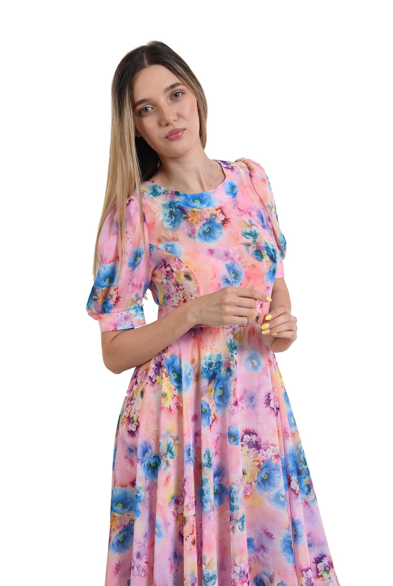 rochie cu motive florale, midi, cu decolteu rotund