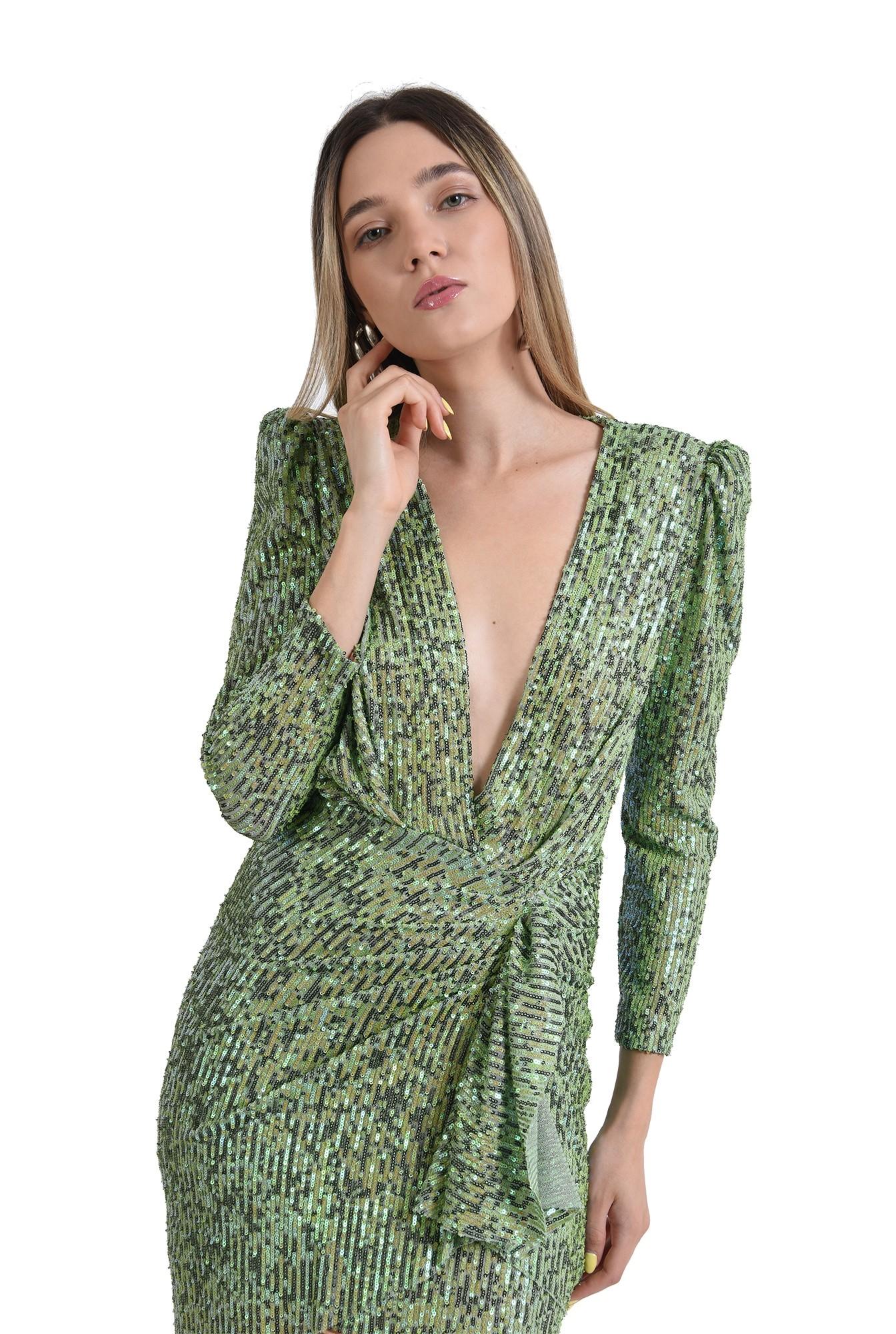 rochie scurta, eleganta, paiete, decolteu adanc, verde