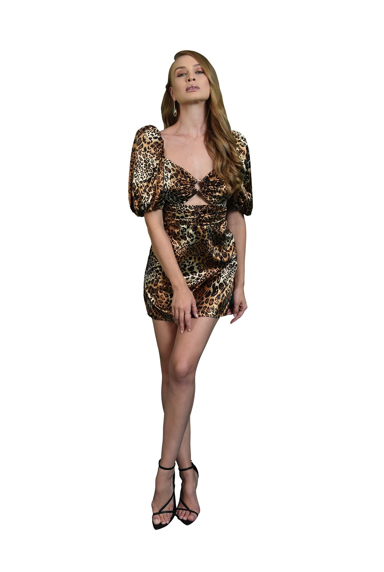 rochie mini, animal print, decupata, maneci bufante, rochii poema