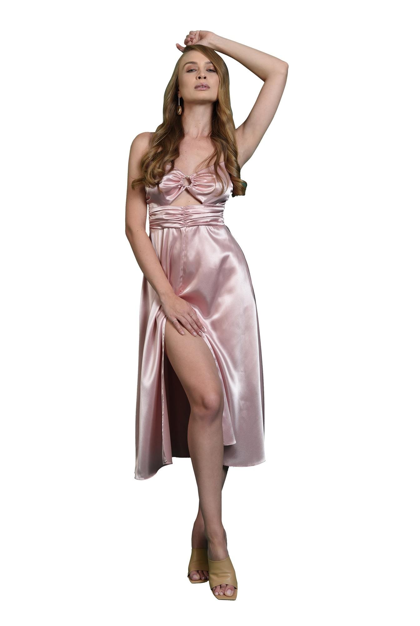 rochie evazata, midi, cu accesoriu