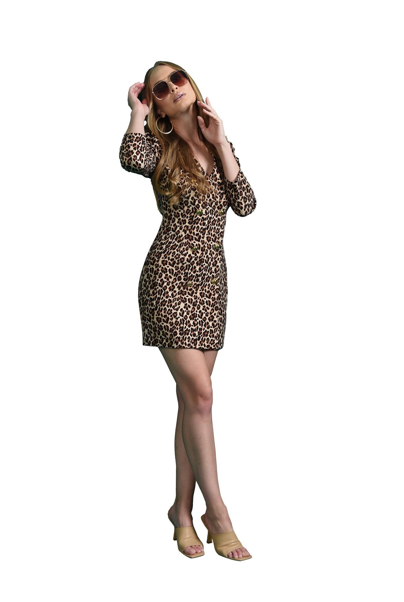 rochie mini, animal print, cu umeri accentuati
