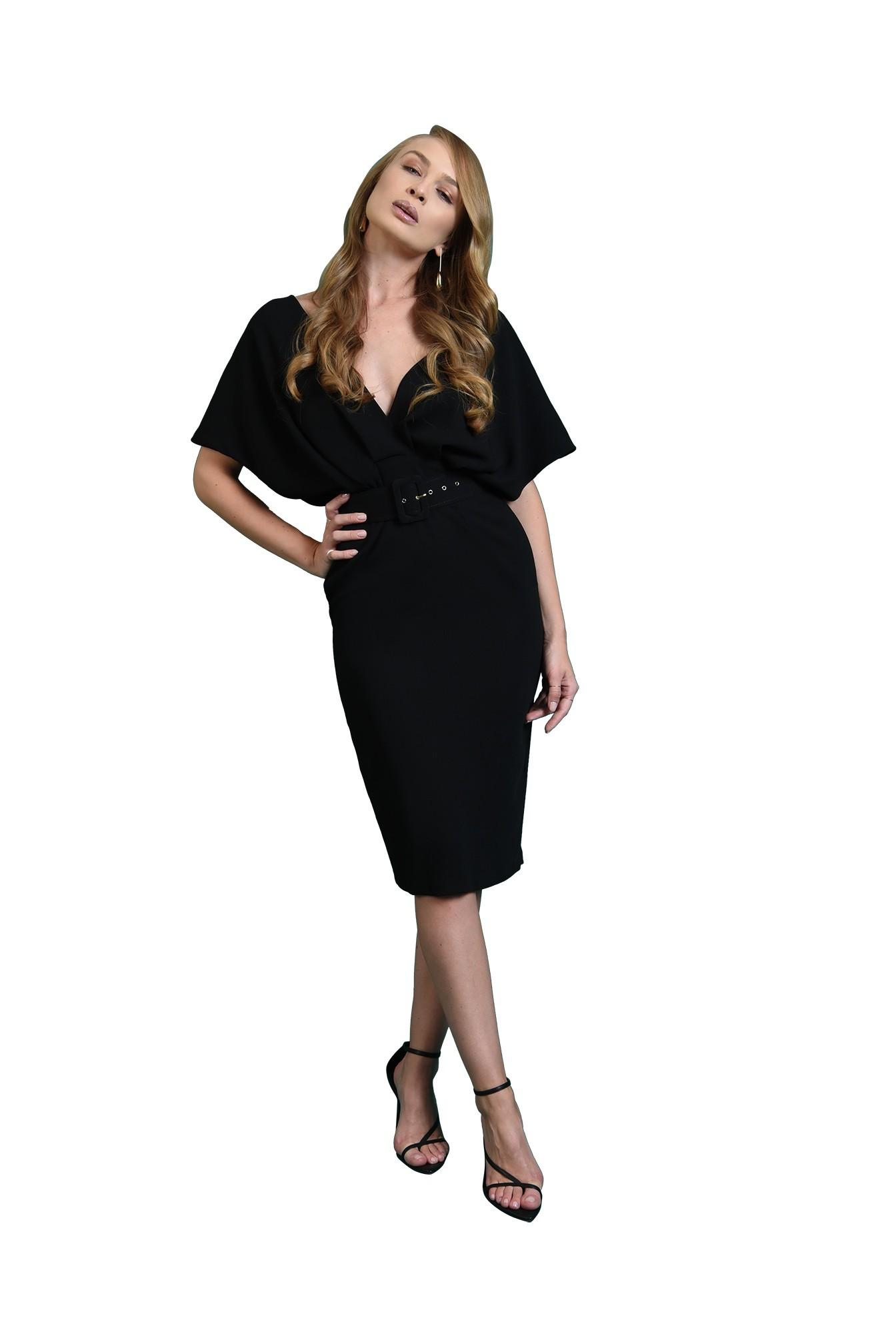 rochie eleganta, poema, midi, drapata, cu centura